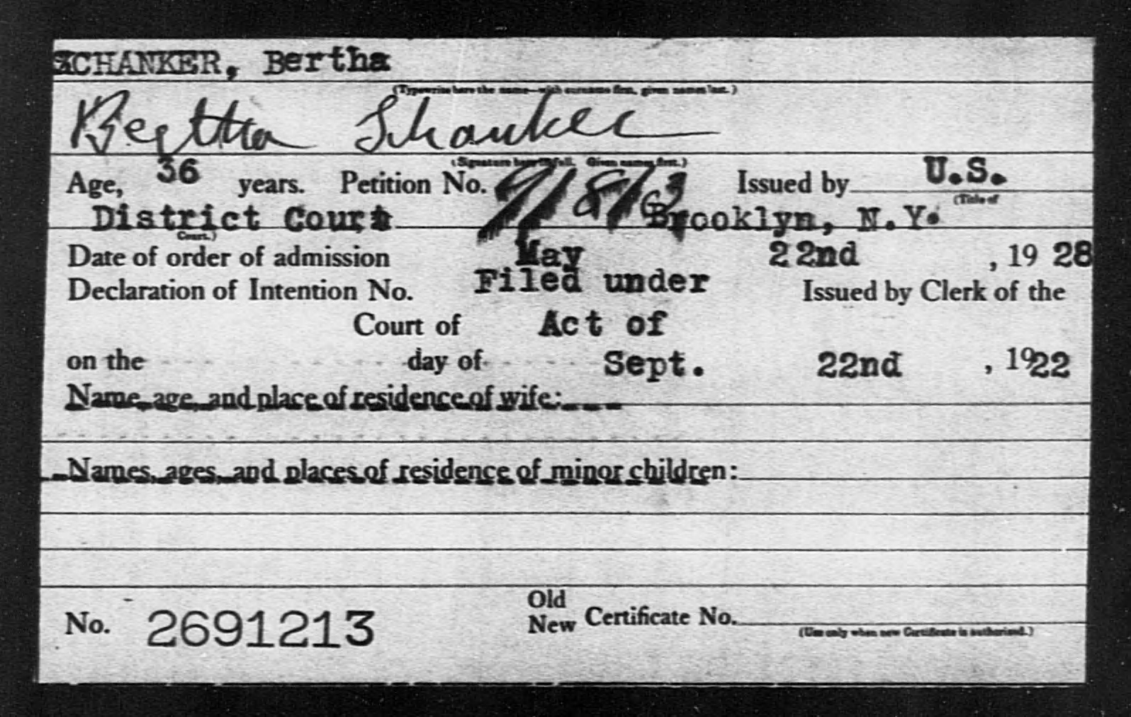 SCHANKER, Bertha - Born: [BLANK], Naturalized: 1928