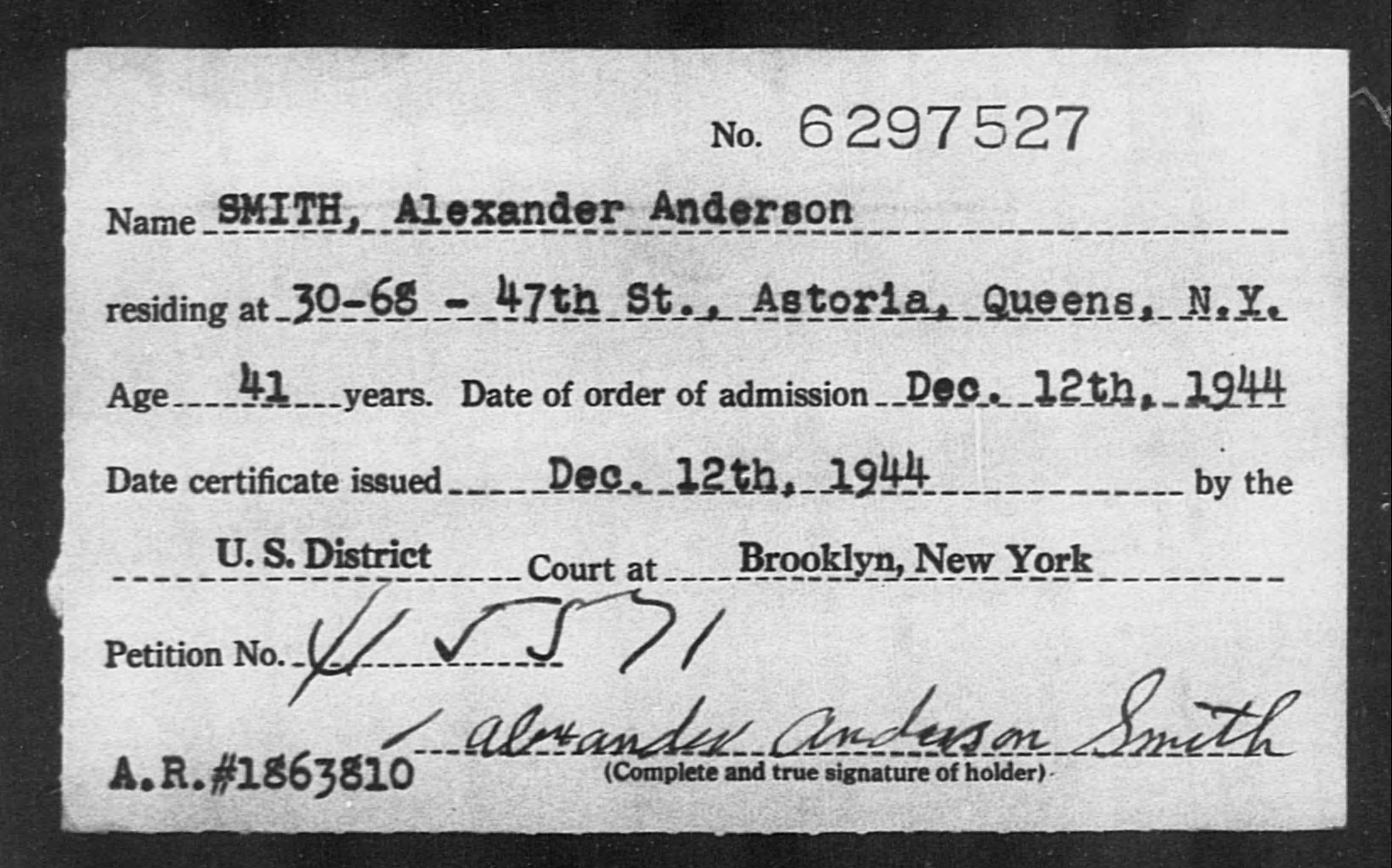 SMITH, Alexander Anderson - Born: [BLANK], Naturalized: 1944