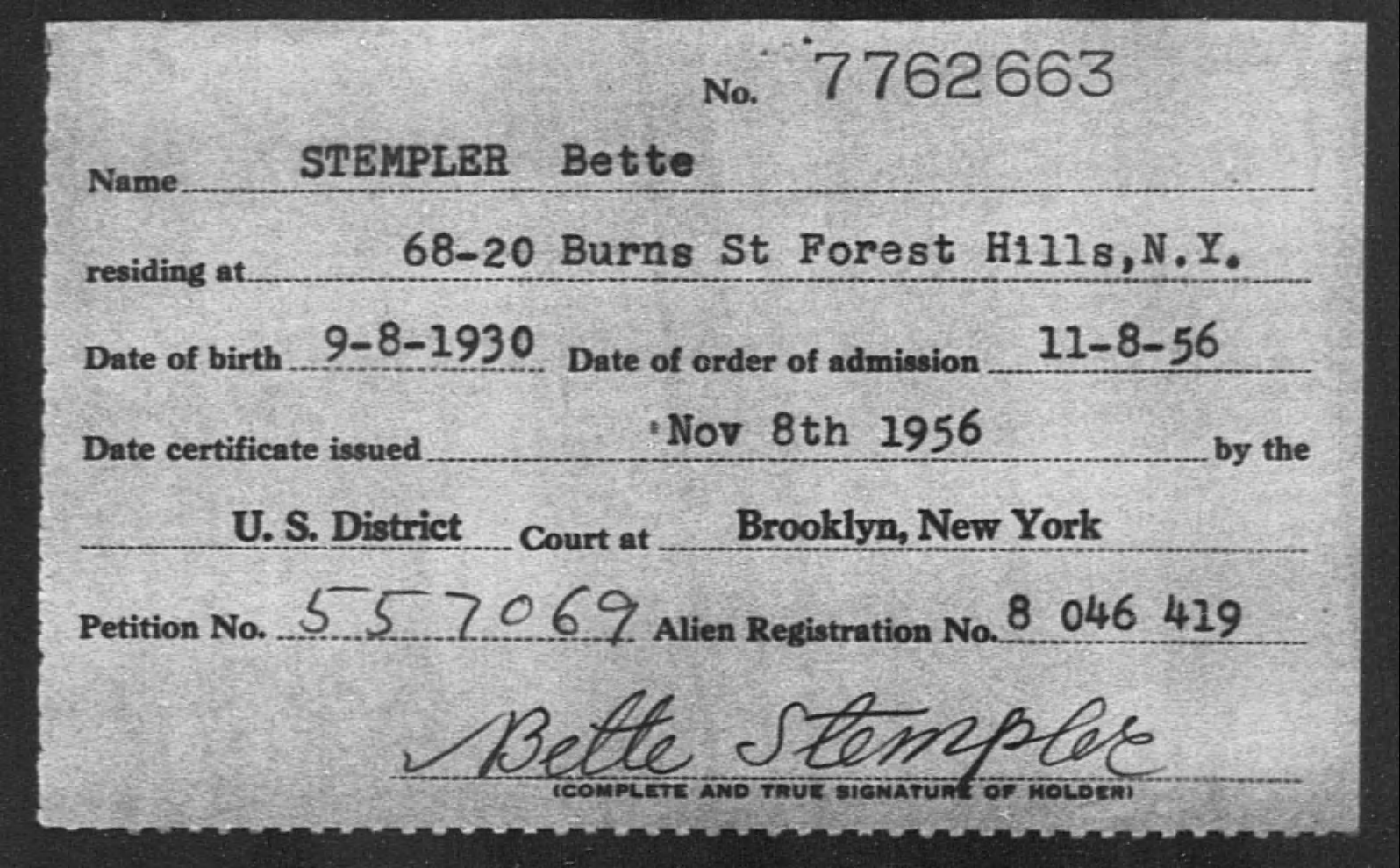 STEMPLER Bette - Born: 1930, Naturalized: 1956