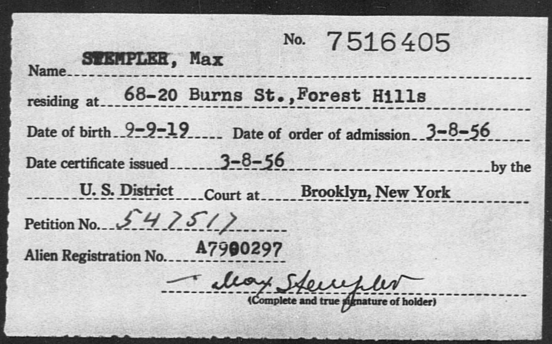 STEMPLER, Max - Born: 1919, Naturalized: 1956