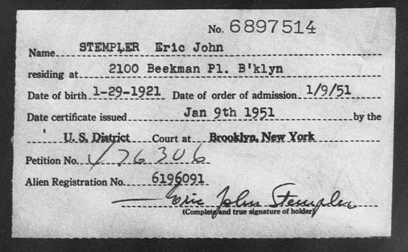 STEMPLER Eric John - Born: 1921, Naturalized: 1951
