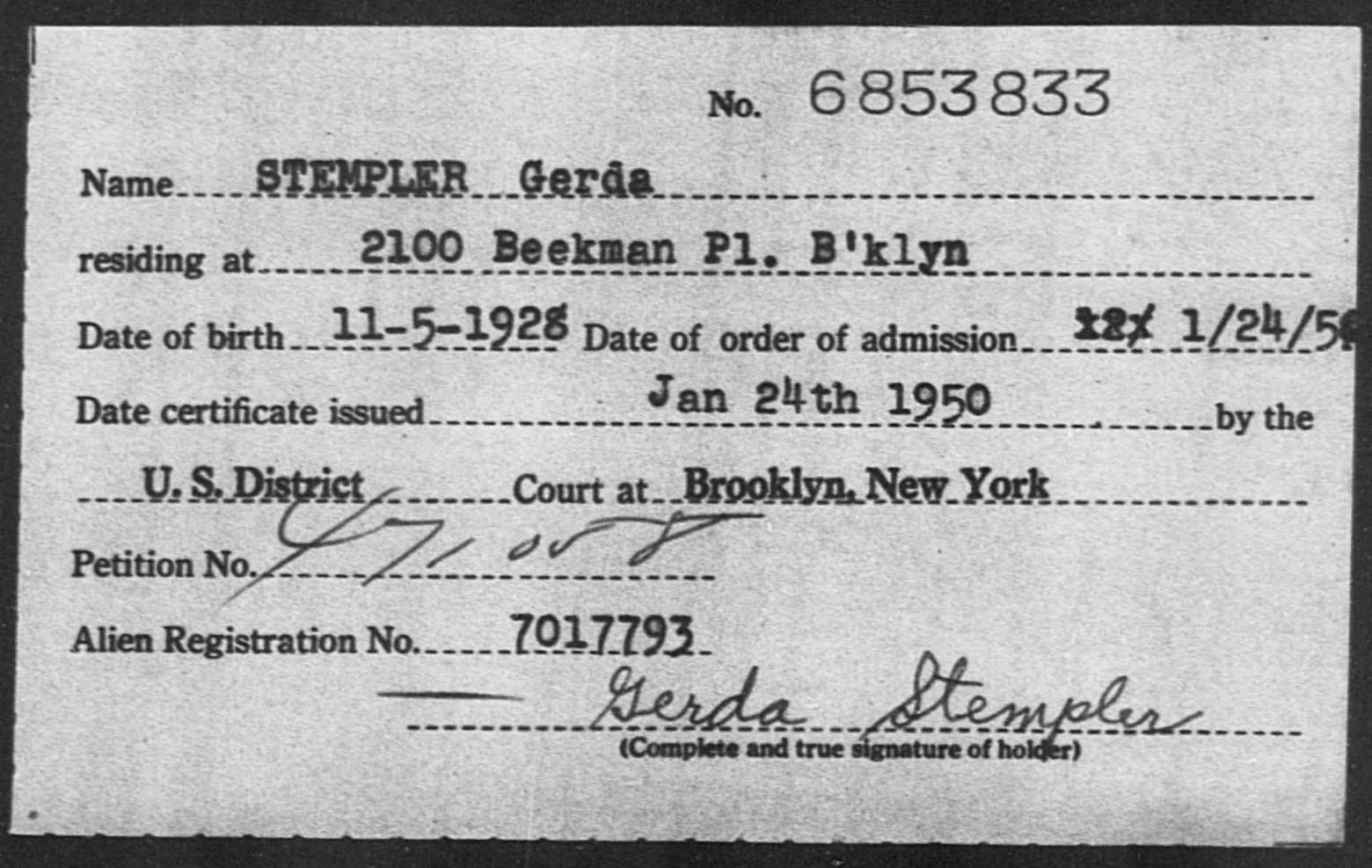 STEMPLER Gerda - Born: 1928, Naturalized: [ILLEGIBLE]