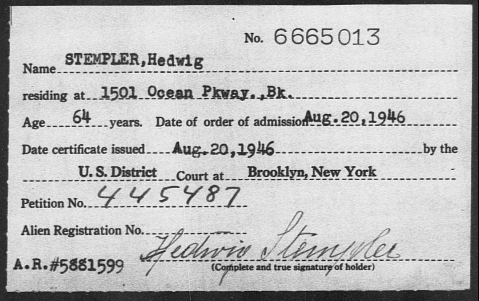 STEMPLER, Hedwig - Born: [BLANK], Naturalized: 1946