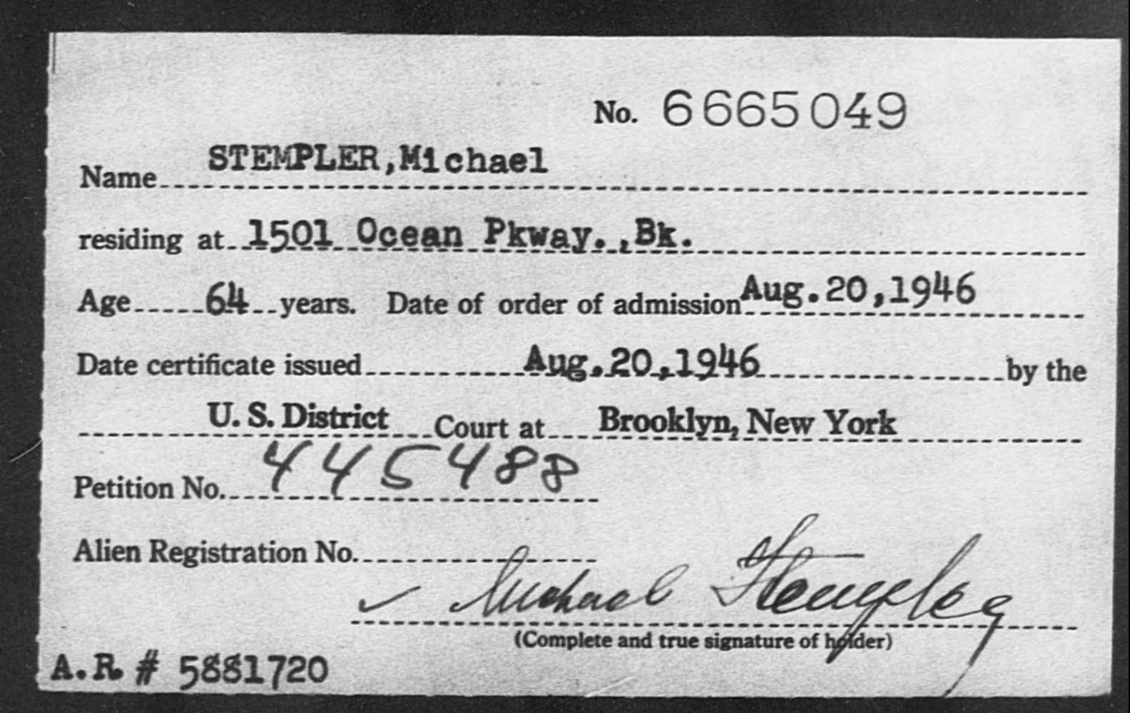 STEMPLER, Michael - Born: [BLANK], Naturalized: 1946