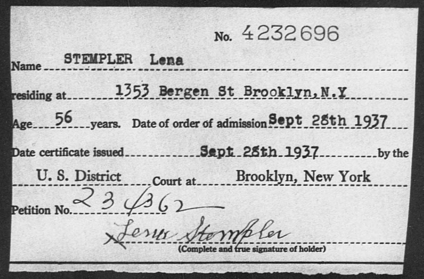 STEMPLER Lena - Born: [BLANK], Naturalized: 1937