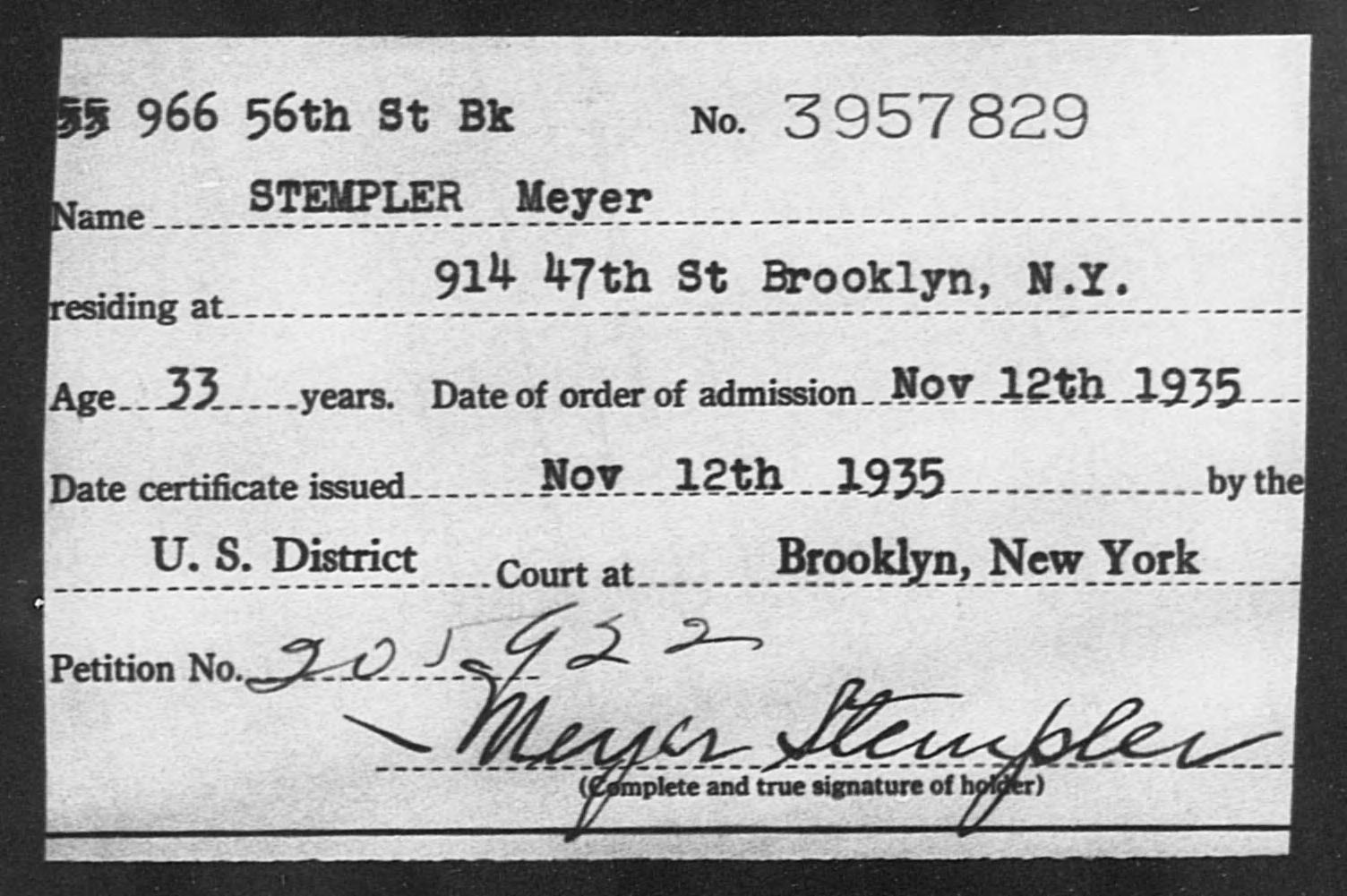 STEMPLER Meyer - Born: [BLANK], Naturalized: 1935