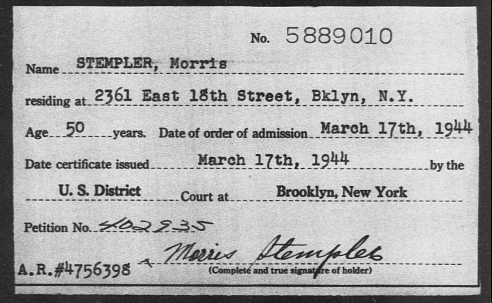 STEMPLER, Morris - Born: [BLANK], Naturalized: 1944