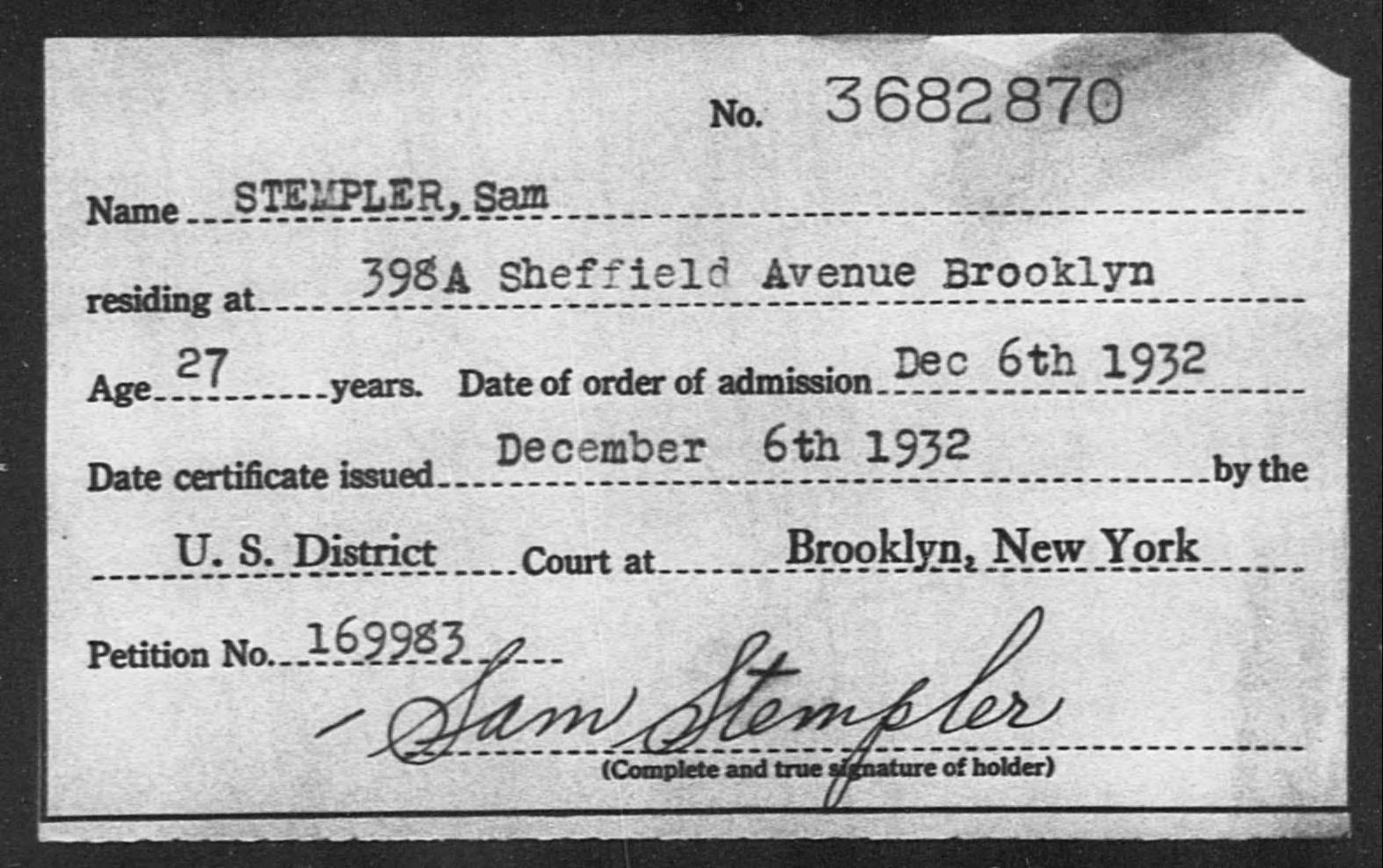 STEMPLER, Sam - Born: [BLANK], Naturalized: 1932
