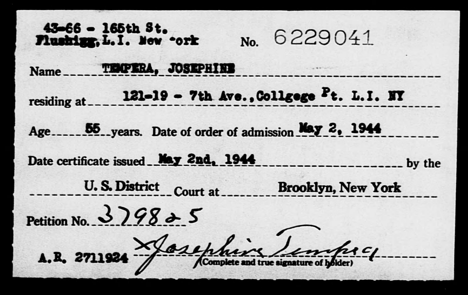 TEMPERA, JOSEPHINE - Born: [BLANK], Naturalized: 1944