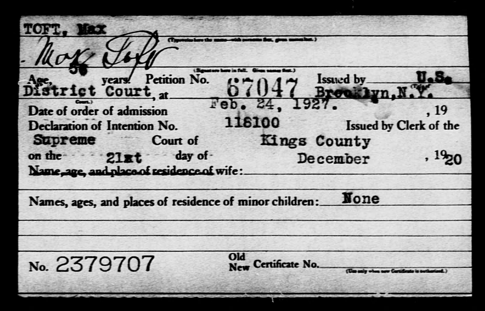 TOFT, Max - Born: [BLANK], Naturalized: 1927
