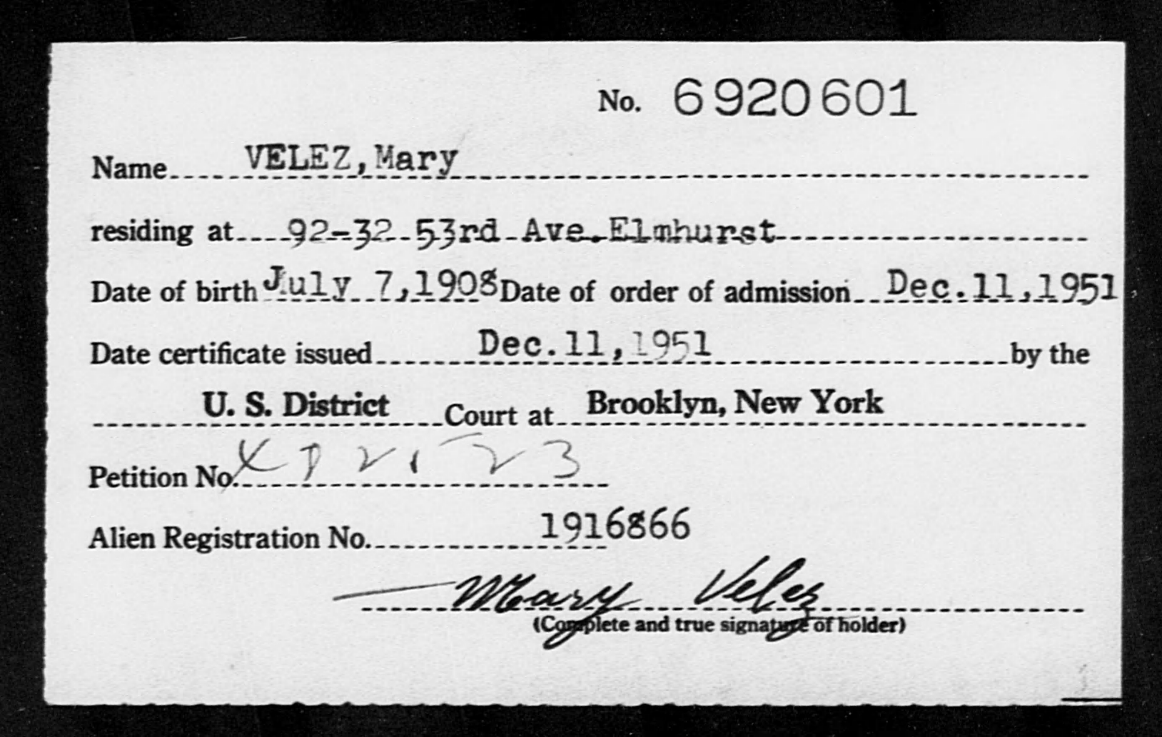 VELEZ, Mary - Born: 1908, Naturalized: 1951