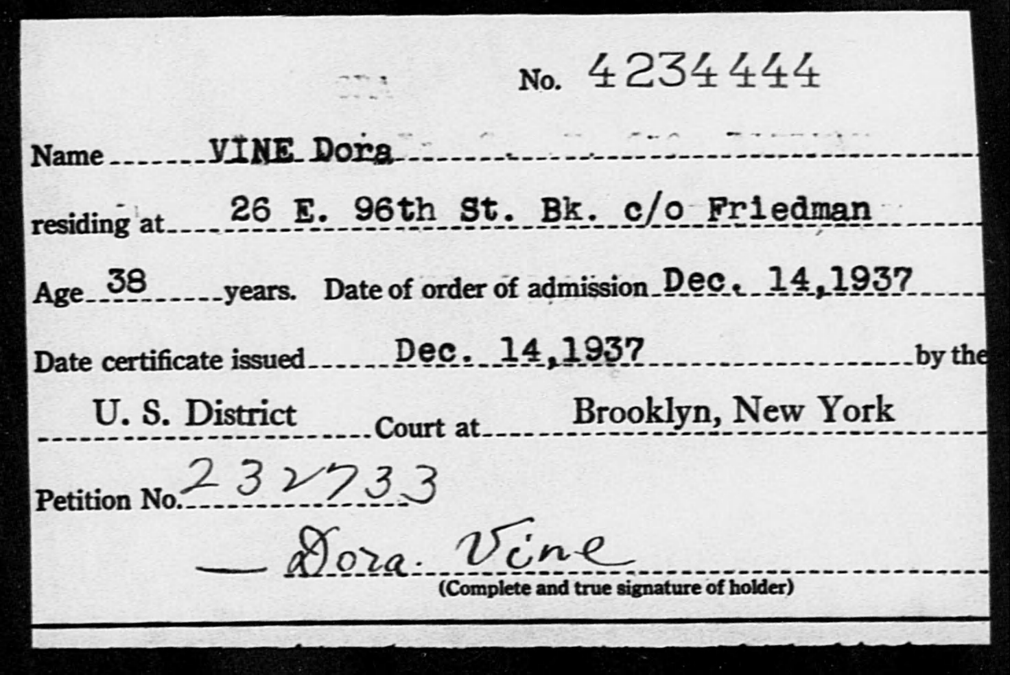 VINE Dora - Born: [BLANK], Naturalized: 1937
