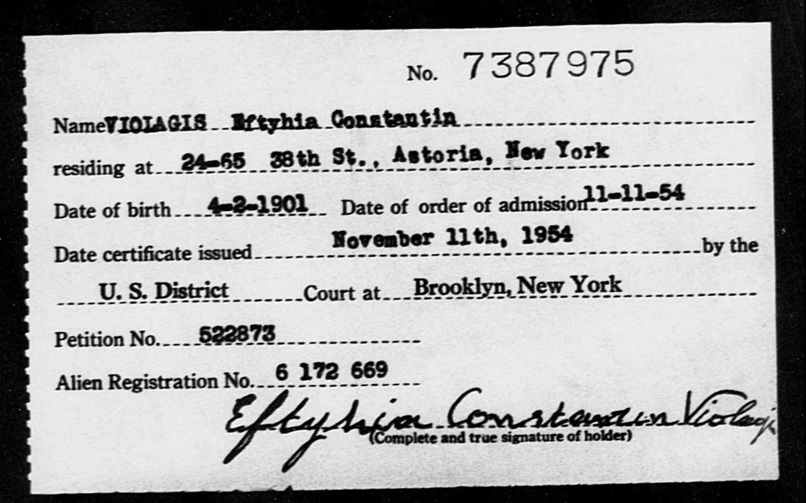 VIOLAGIS Eftyhia Costantin - Born: 1901, Naturalized: 1954