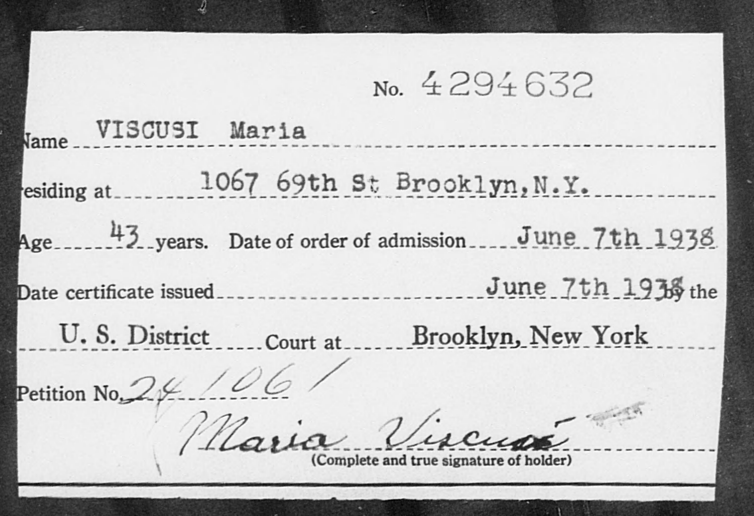 VISCUSI Maria - Born: [BLANK], Naturalized: 1938