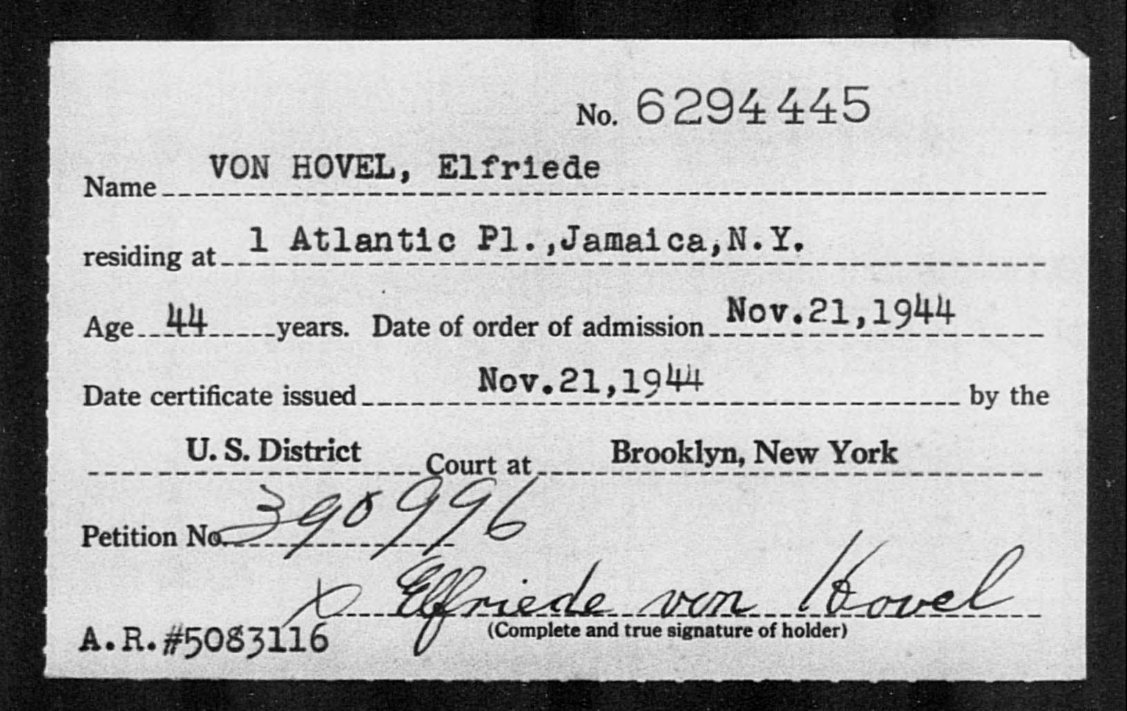 VON HOVEL, Elfriede - Born: [BLANK], Naturalized: 1944
