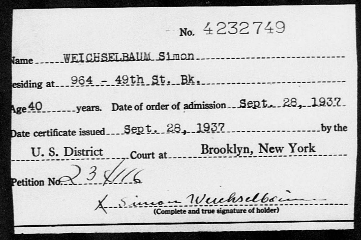 WEICHSELBAUM Simon - Born: [BLANK], Naturalized: 1937