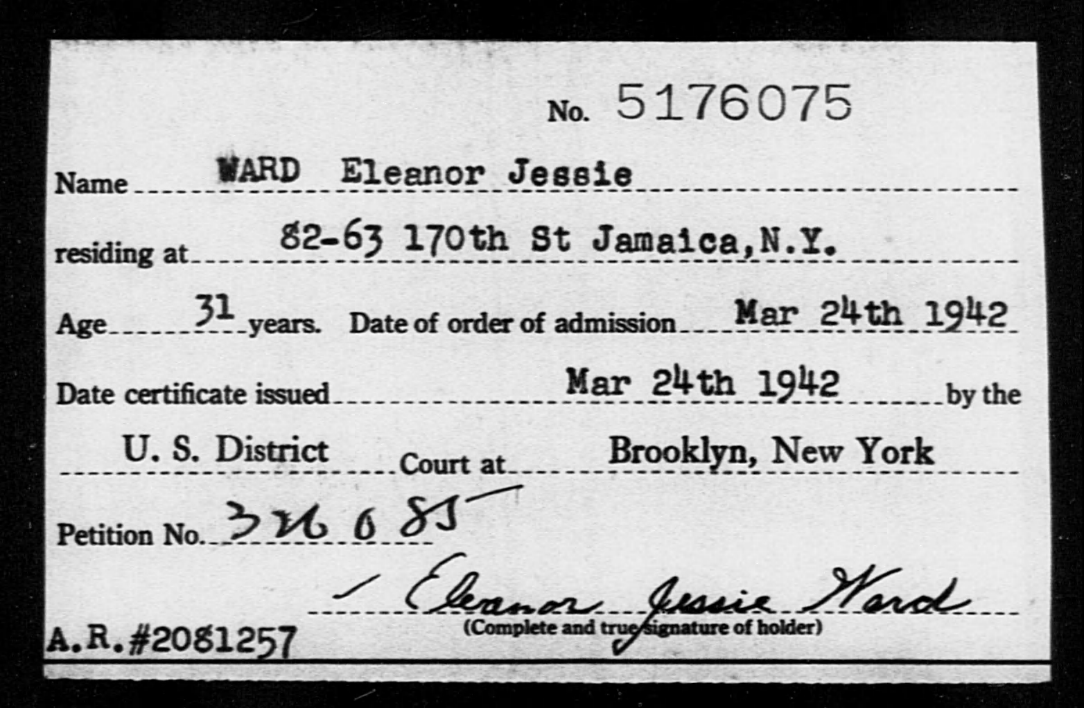 WARD Eleanor Jessie - Born: [BLANK], Naturalized: 1942
