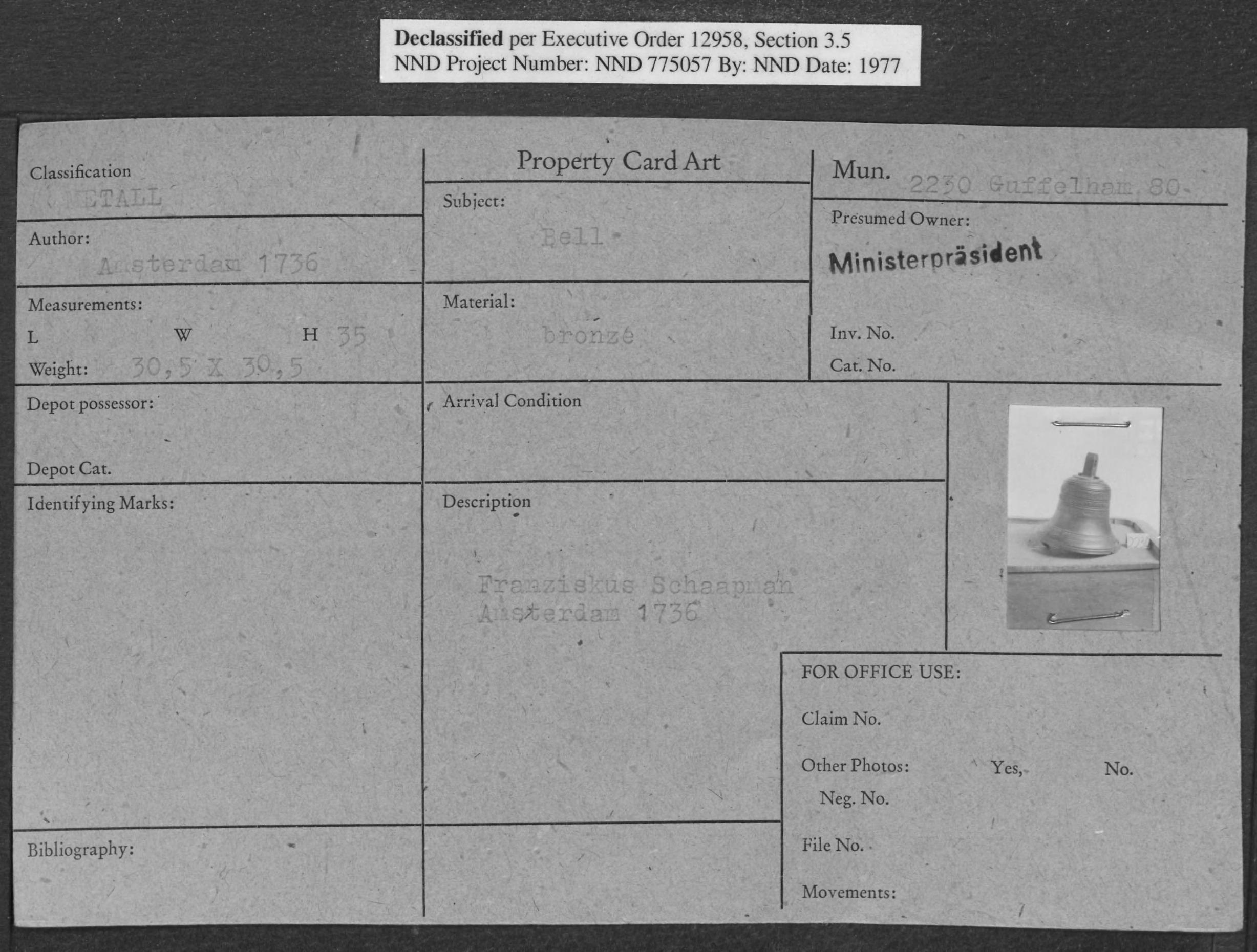 Metall: Bell, Property Card Number 2230 Guffelham 80