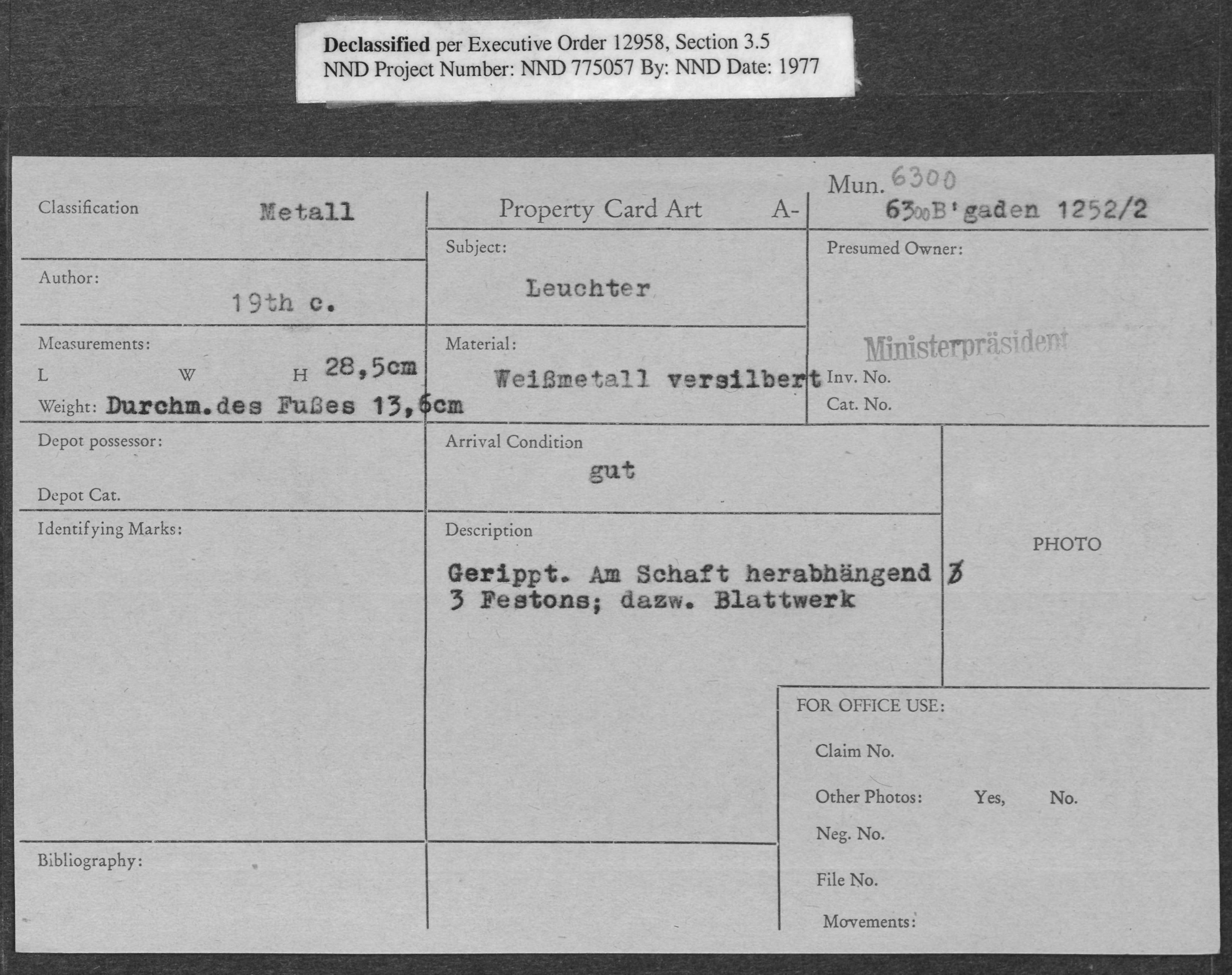 Metall: Leuchter, Property Card Number 6300 B'gaden 1252/2