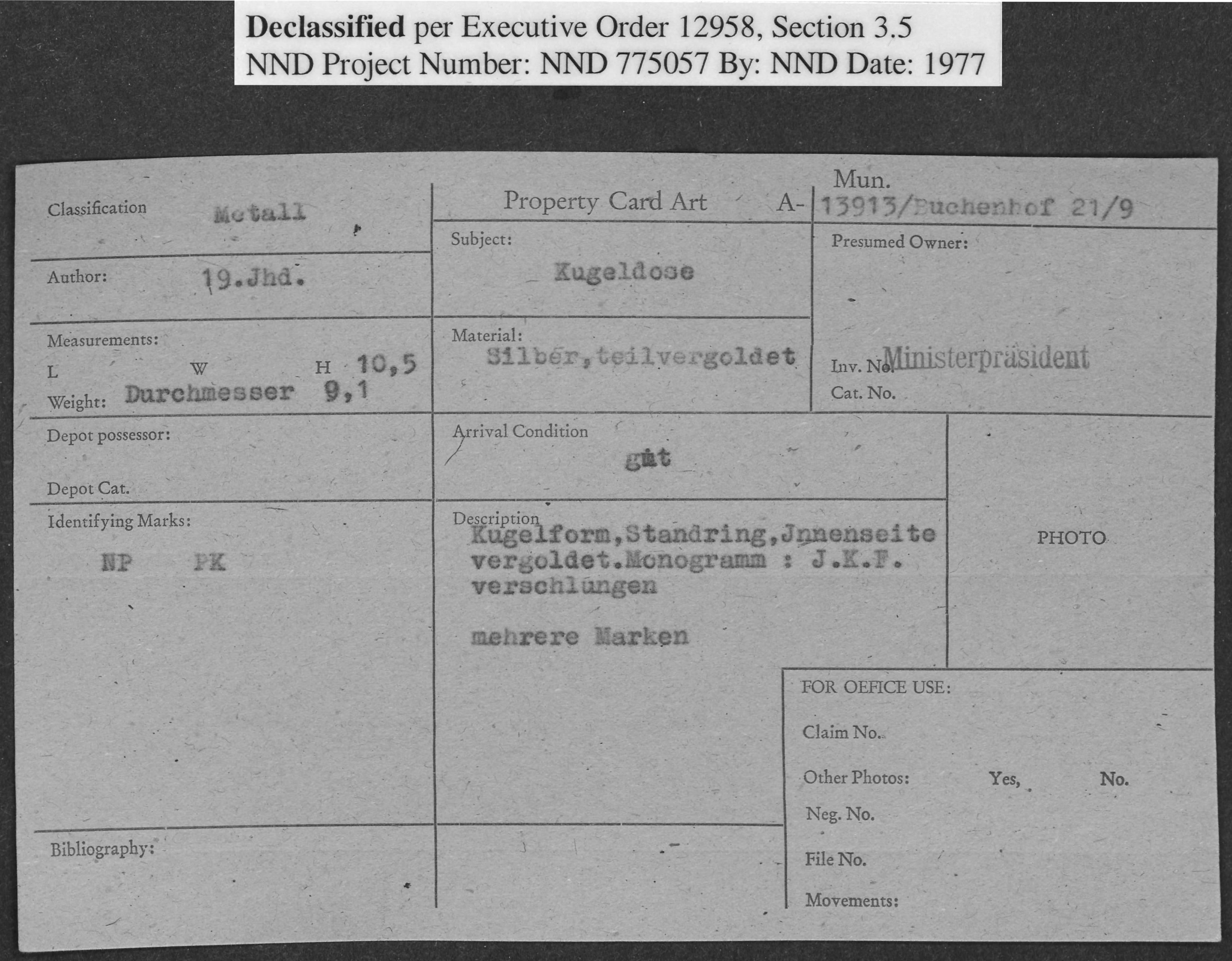 Metall: Kugeldose, Property Card Number 13913/buchenhof 21/9