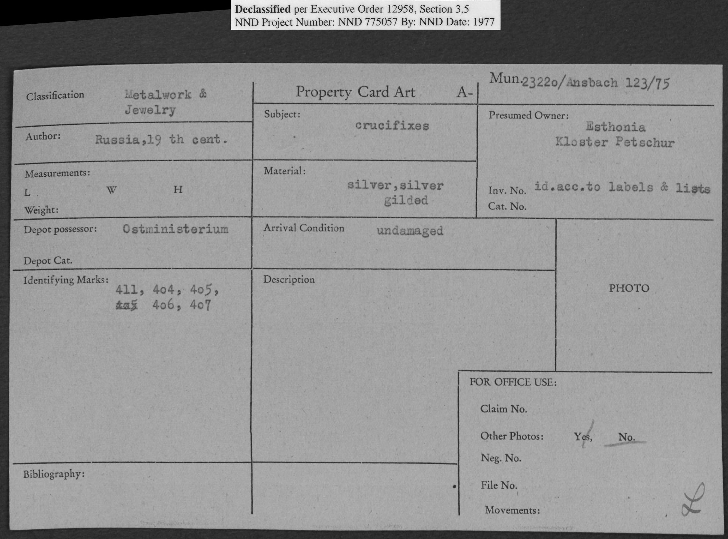 Metalwork & Jewelry: Crucifixes, Property Card Number 23220/Ansbach 123/75