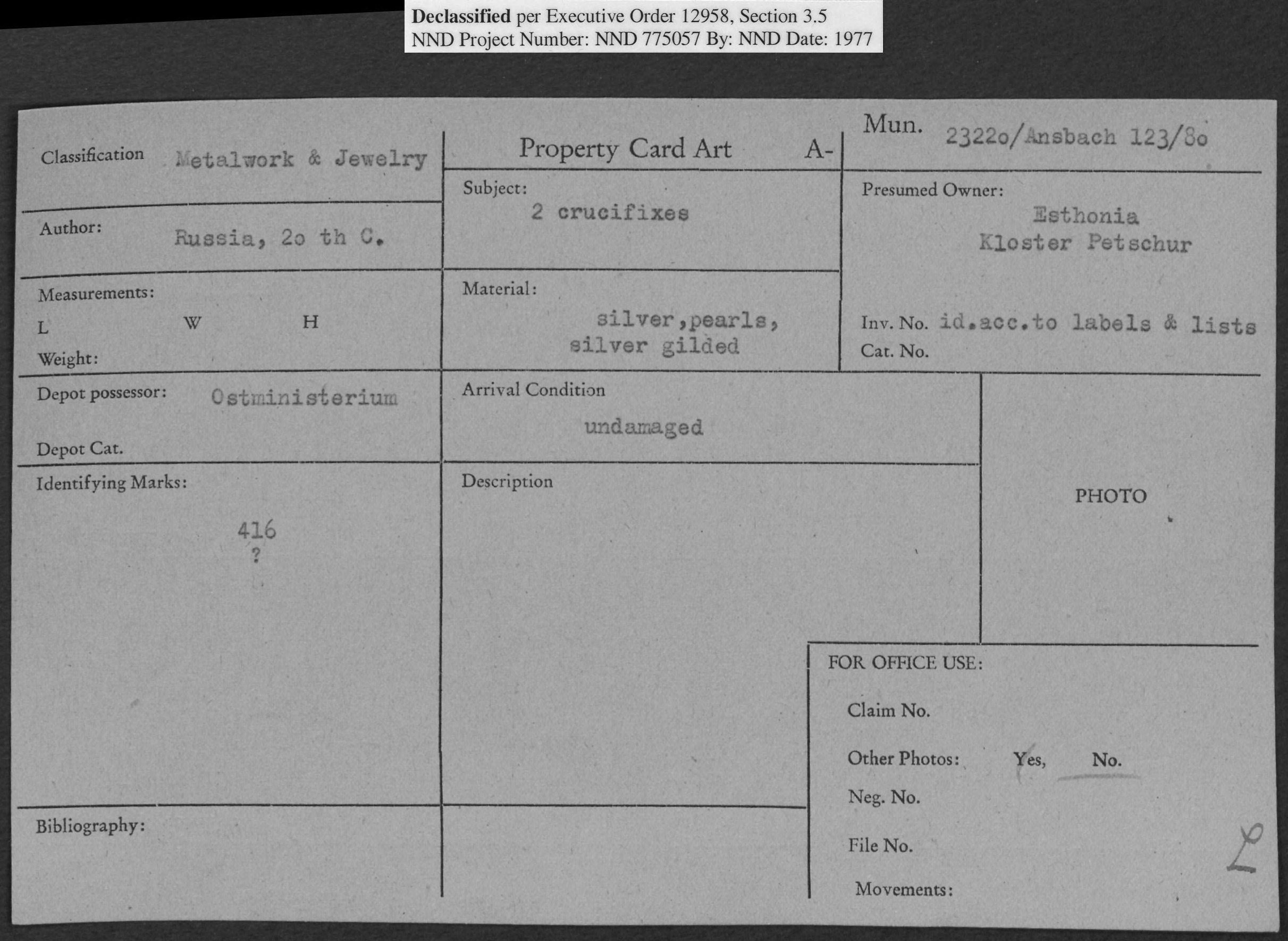 Metalwork & Jewelry: 2 Crucifixes, Property Card Number 23220/Ansbach 123/80
