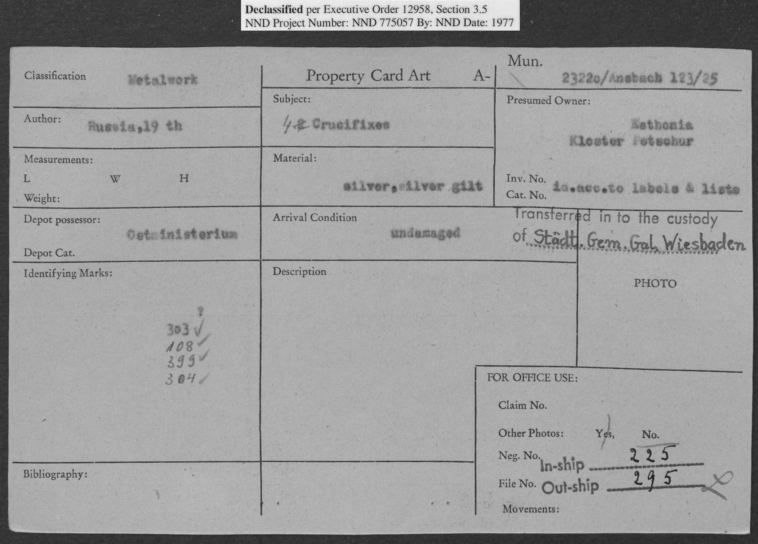 Metalwork: 4 Crucifixes, Property Card Number 23220/Ansbach 123/25