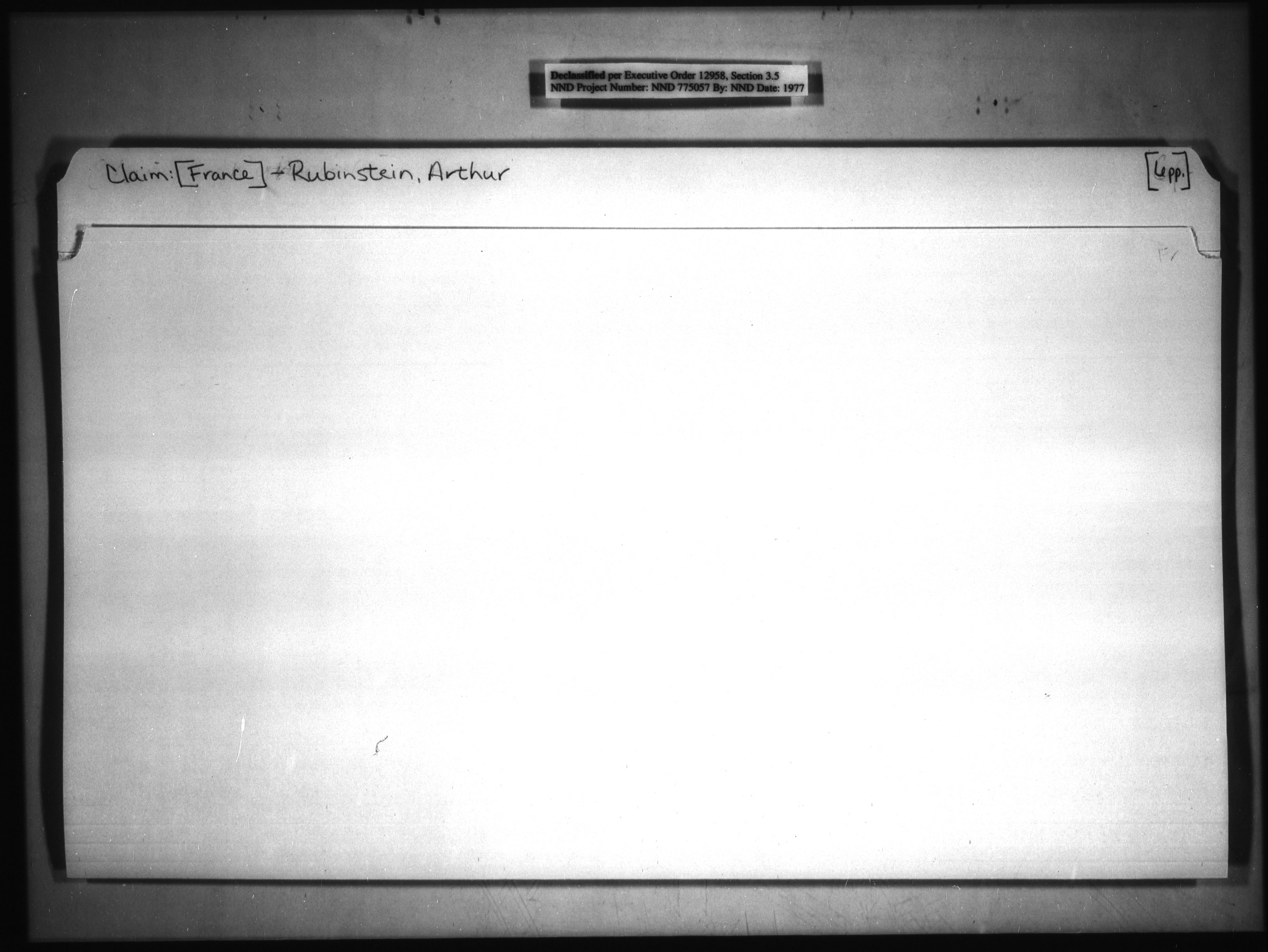 Claim: [France]-Rubinstein, Arthur