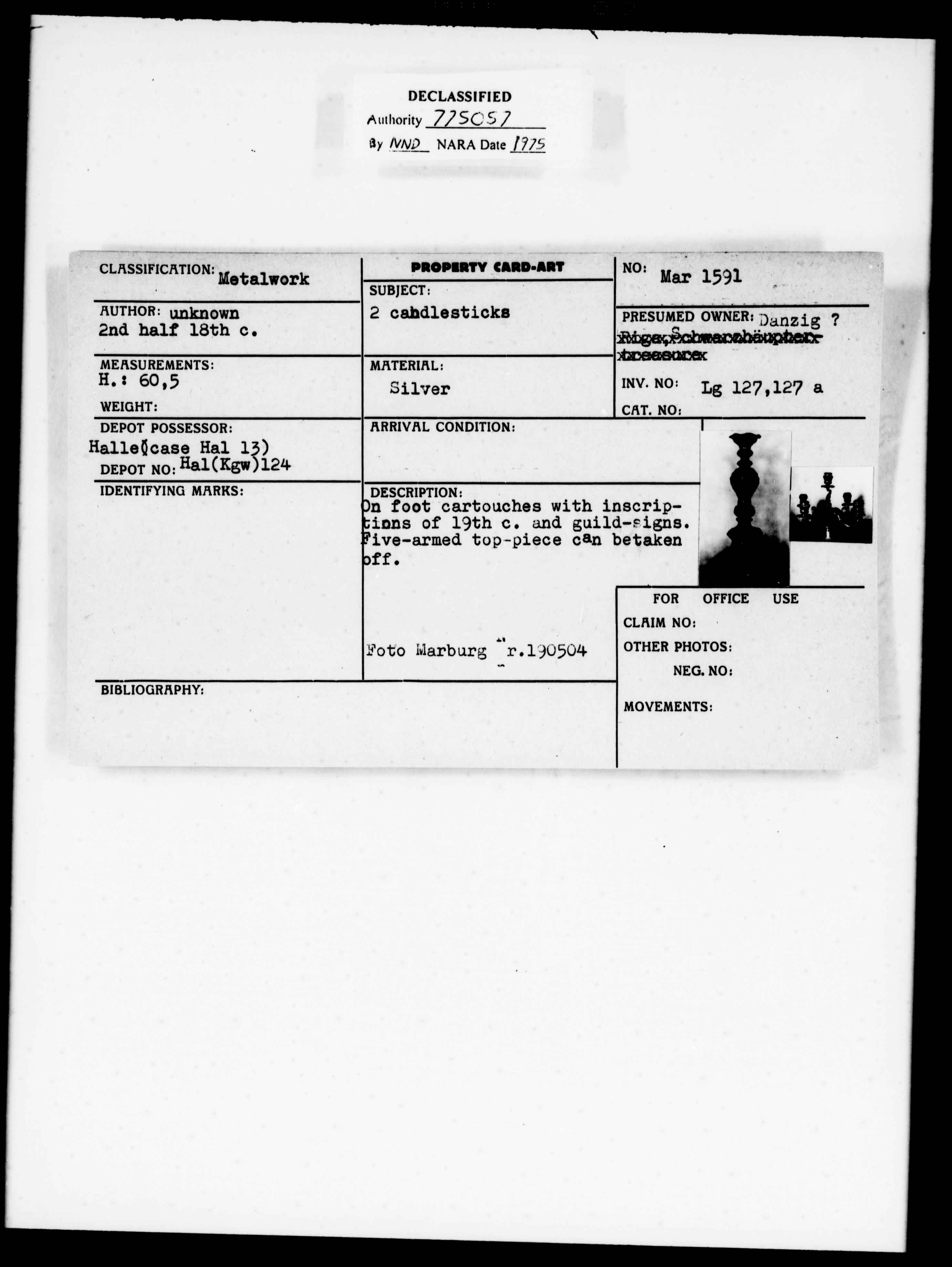 Property Card Mar 1591, Metalwork, 2 Candlesticks