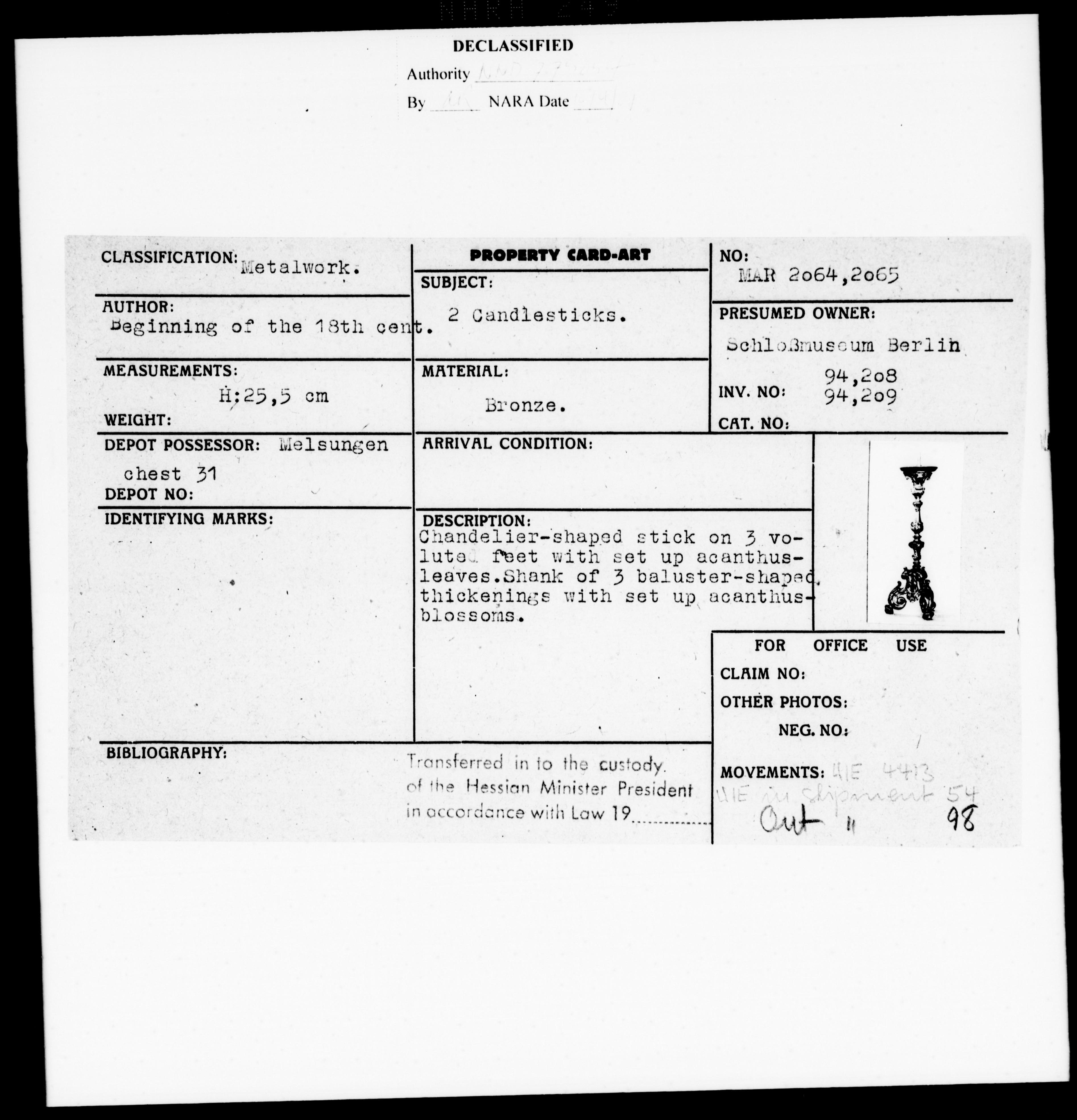 Property Card Mar 2065, Metalwork, 2 Candlesticks