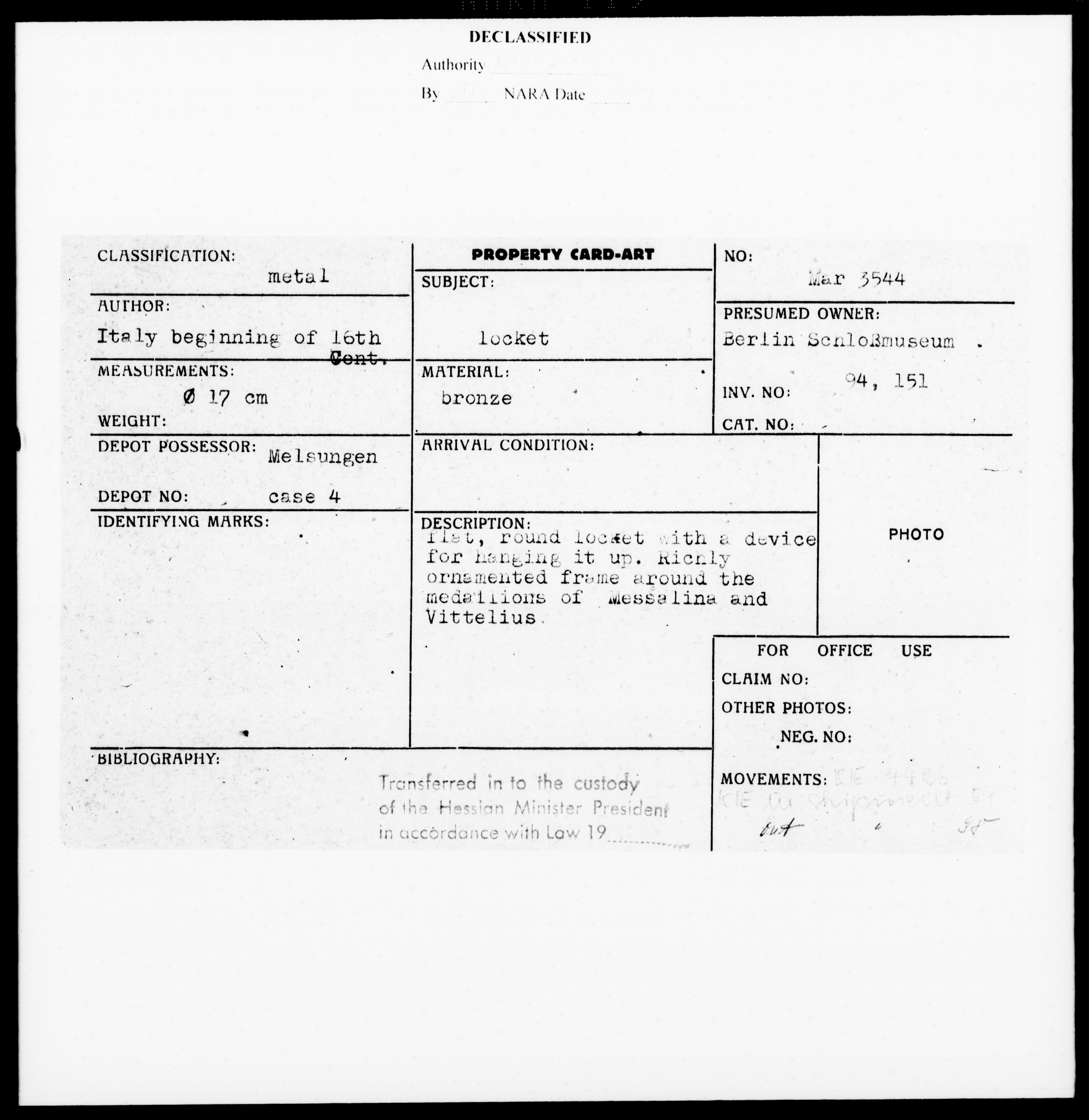Property Card Mar 3544, Metalwork, Locket