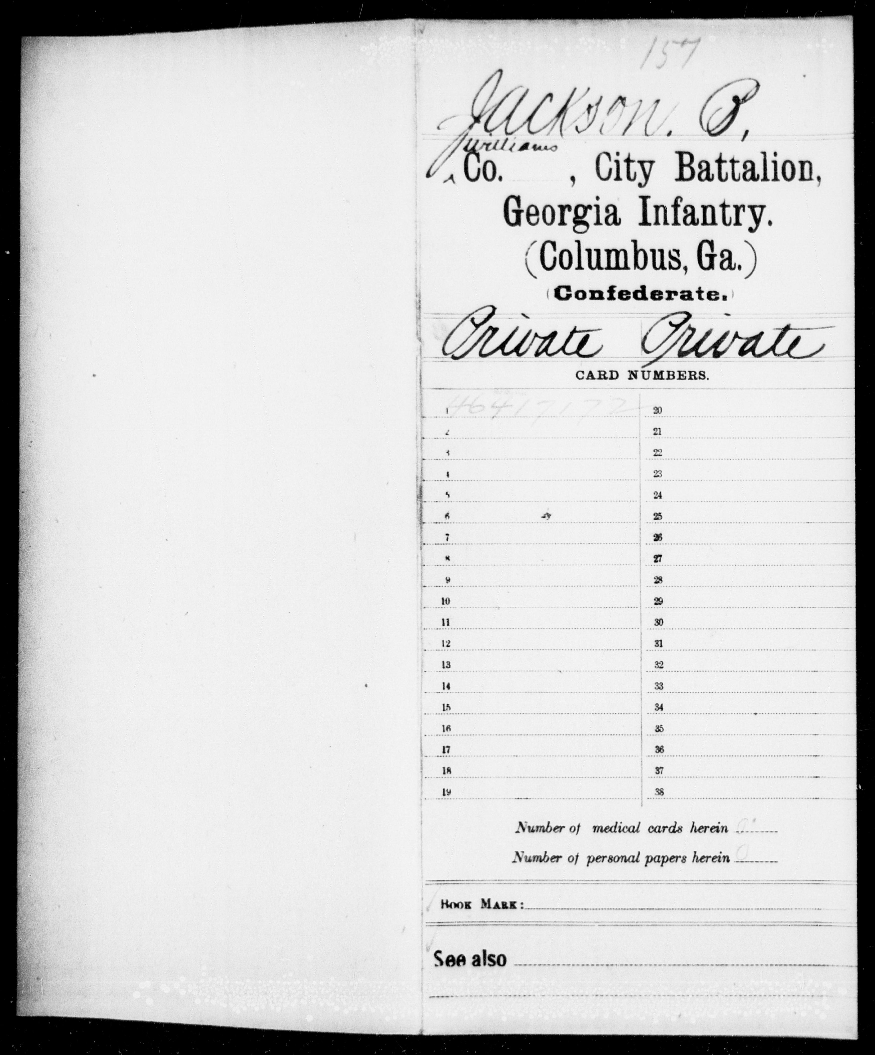 Confederate Soldiers from the State of Georgia - Jackson, B - Arsenal Battalion, Infantry (Columbus) AND Augusta Battalion, Infantry AND City Battalion, Infantry (Columbus) AND Coast Guard Battalion, Militia AND Cook's Battalion, Infantry (Reserves) AND Rowland's Battalion, Conscripts AND Youngblood's Battalion, Infantry AND Cobb's Guards, Infantry
