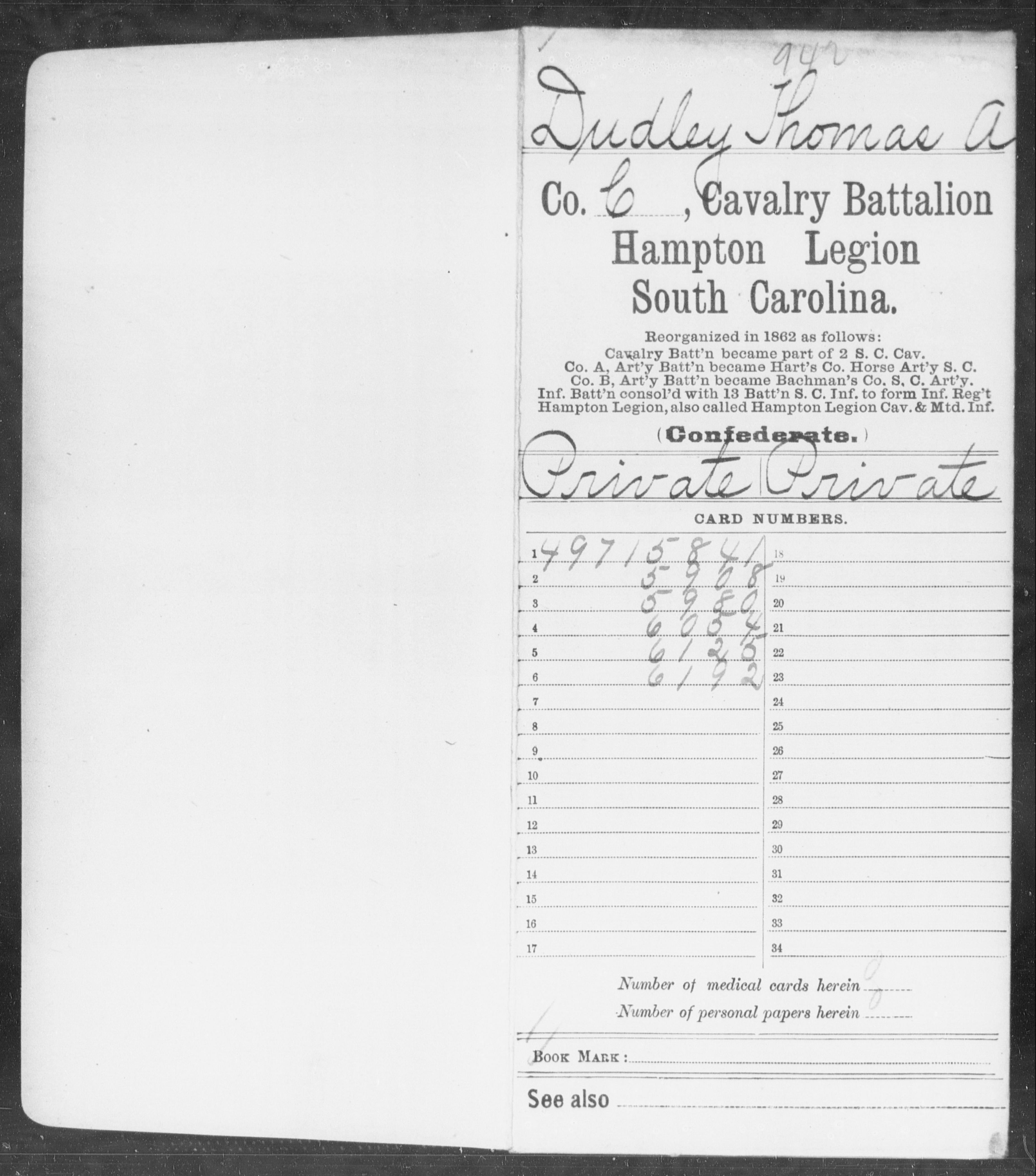 Confederate Soldiers from the State of South Carolina - Dudley, Thomas A - Hampton Legion Cl-D