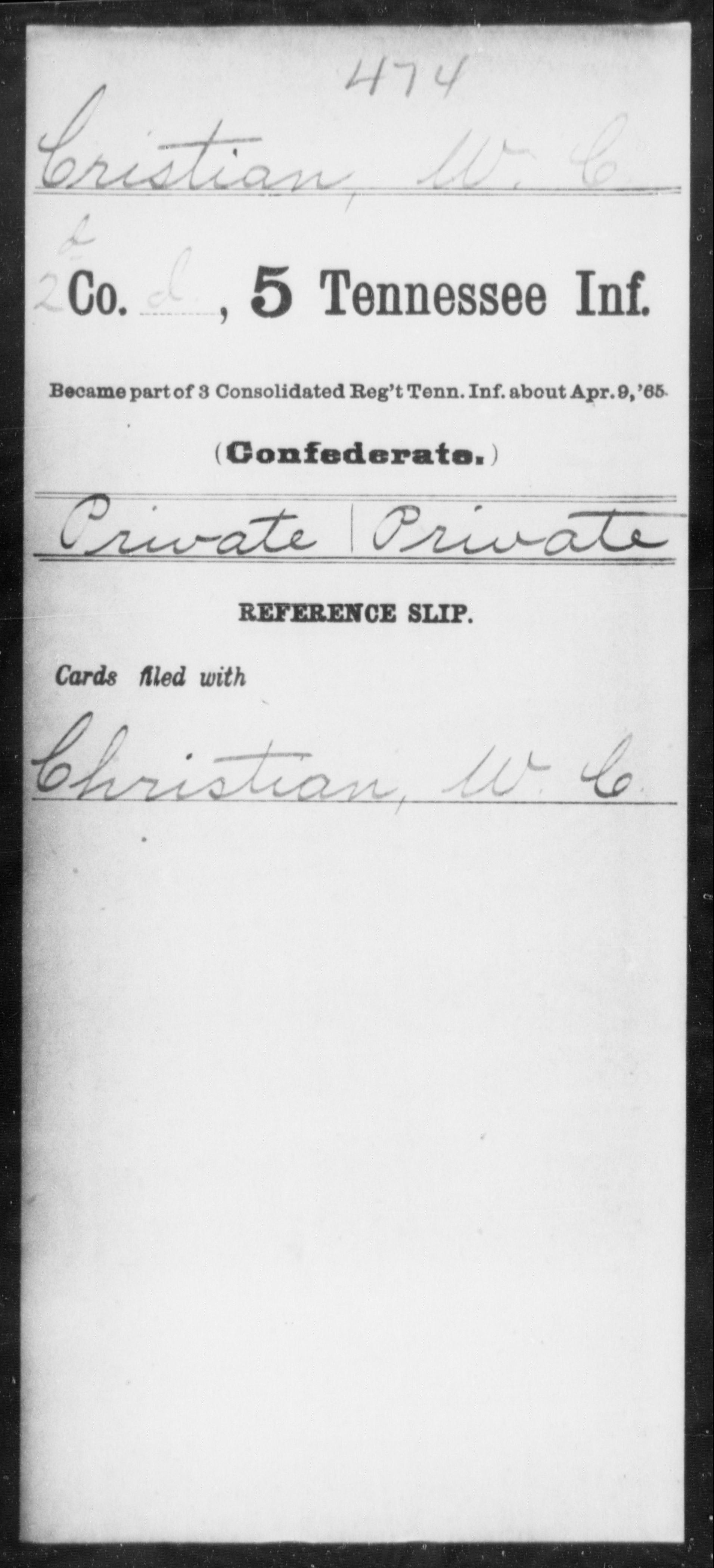Confederate Soldiers from the State of Tennessee - Cristian, W C - Fifth Infantry, C-G