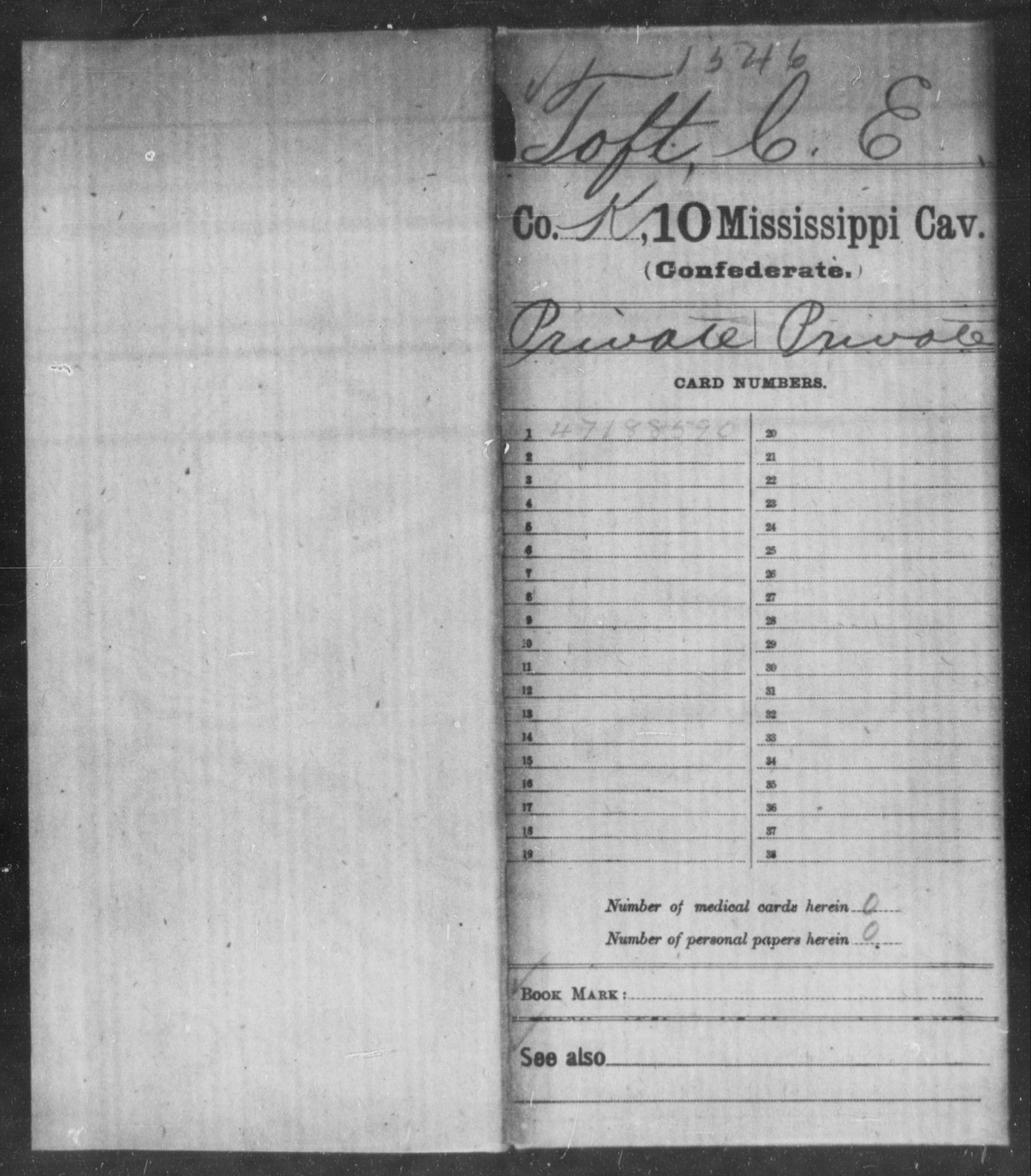 Confederate Soldiers from the State of Mississippi - Toft, C E - Tenth Cavalry, N-Y