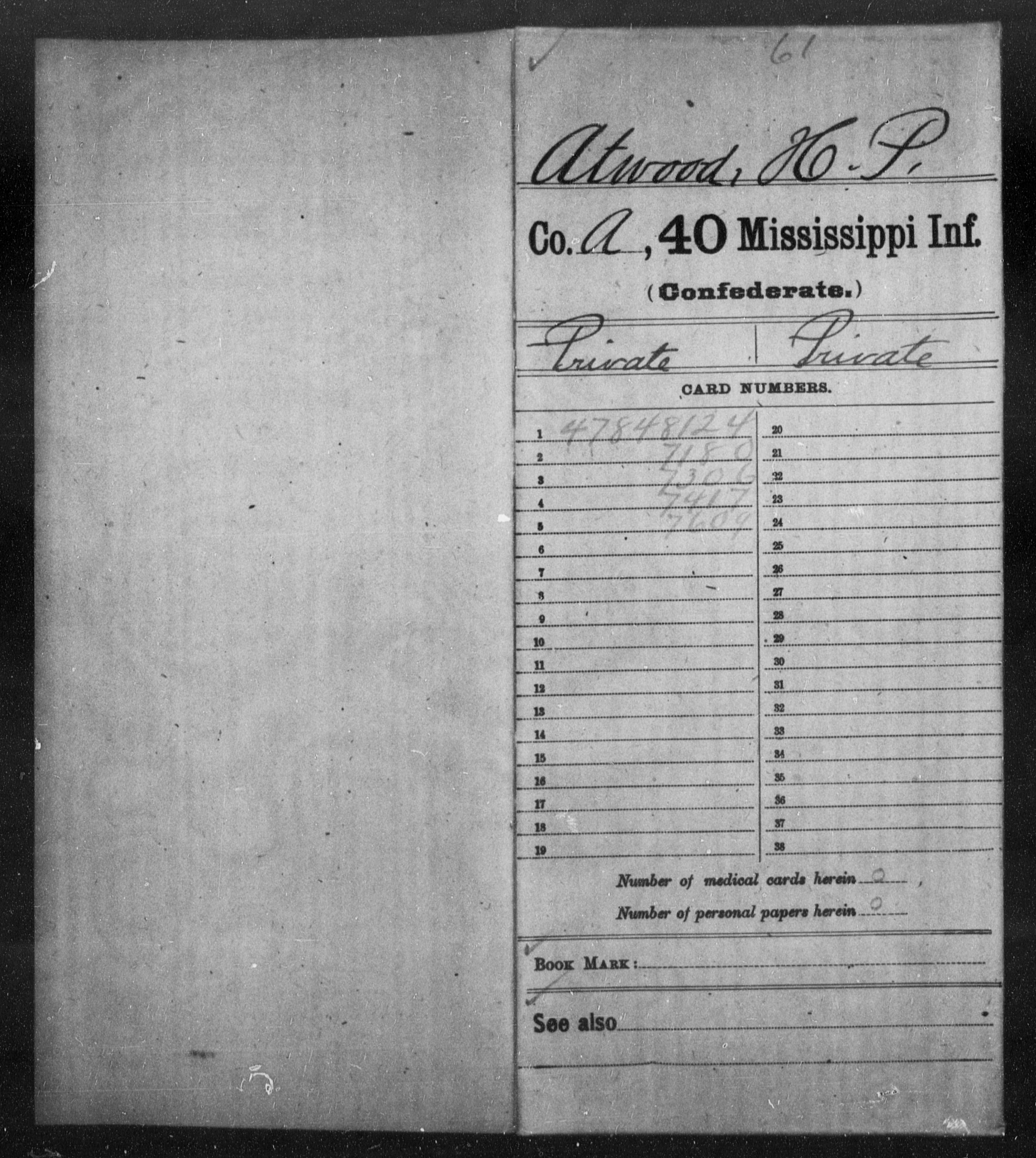 Confederate Soldiers from the State of Mississippi - Atwood, H P - Thirty-ninth Infantry, V-Y AND Fortieth Infantry, A-Ch