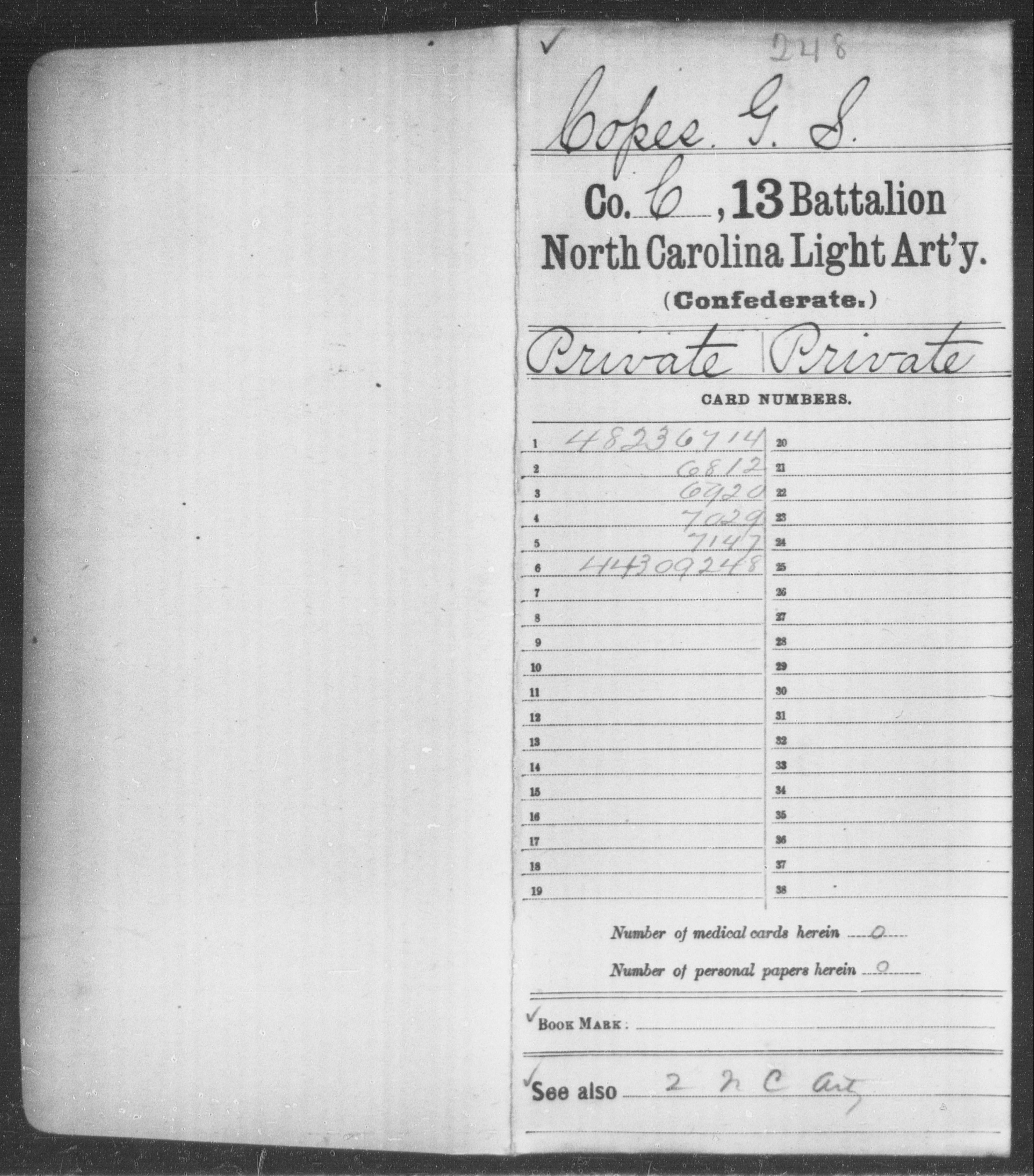 Confederate Soldiers from the State of North Carolina - Copes, G S - Thirteenth Battalion, Light Artillery
