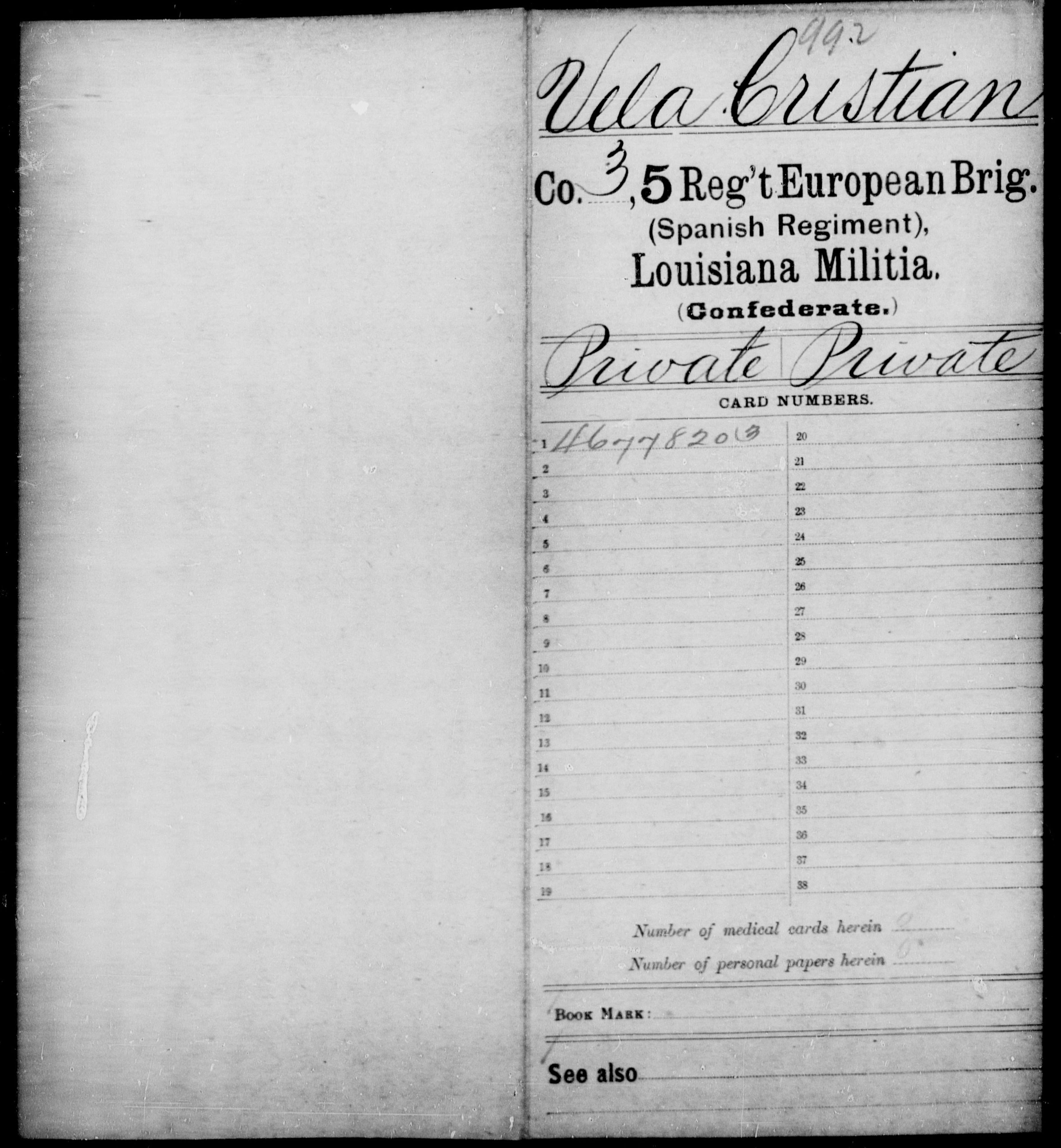 Confederate Soldiers from the State of Louisiana - Vela, Cristian - Militia, Pe - Z
