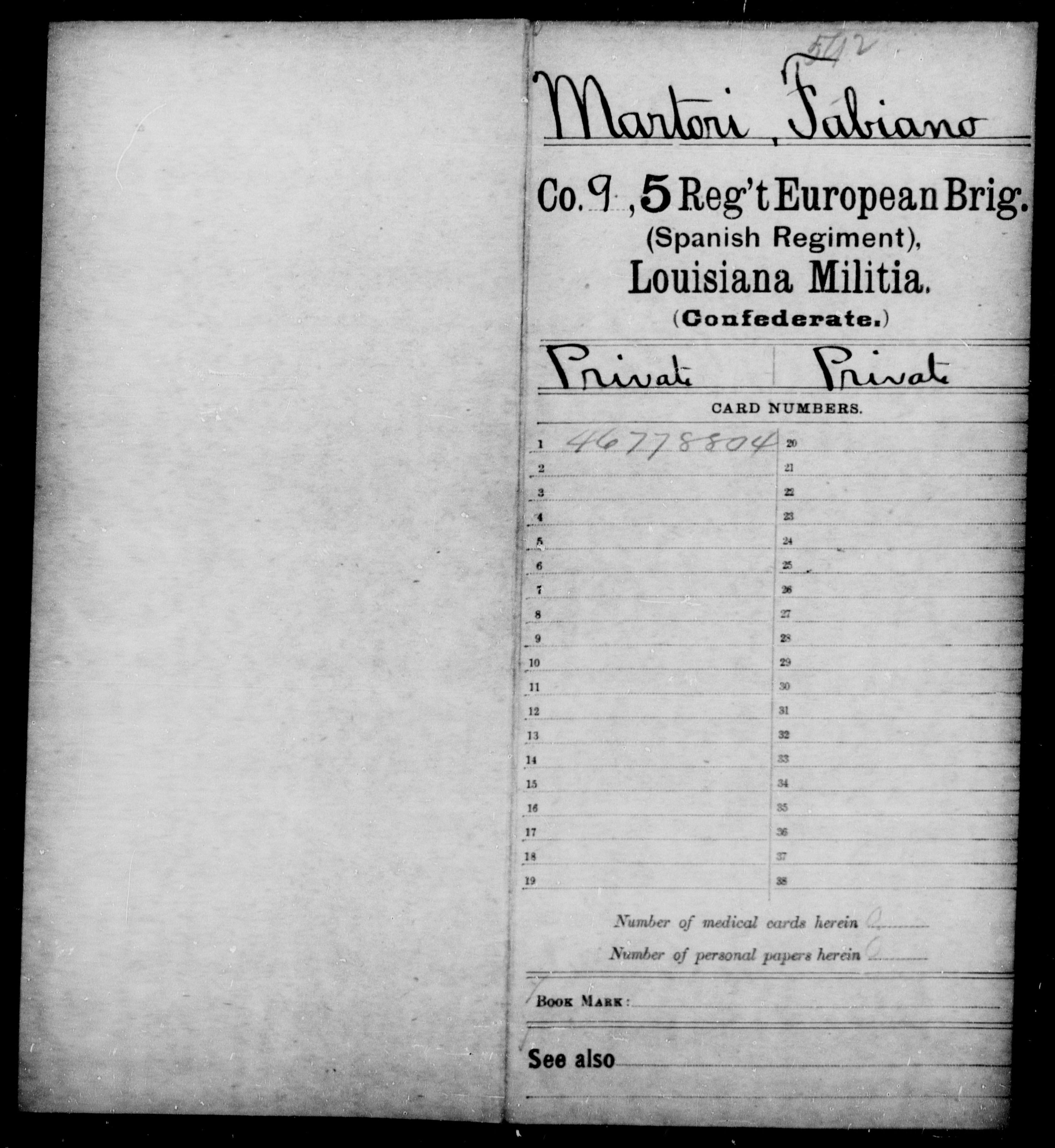 Confederate Soldiers from the State of Louisiana - Martori, Fabiano - Fifth Regiment, European Brigade (Spanish Regiment)
