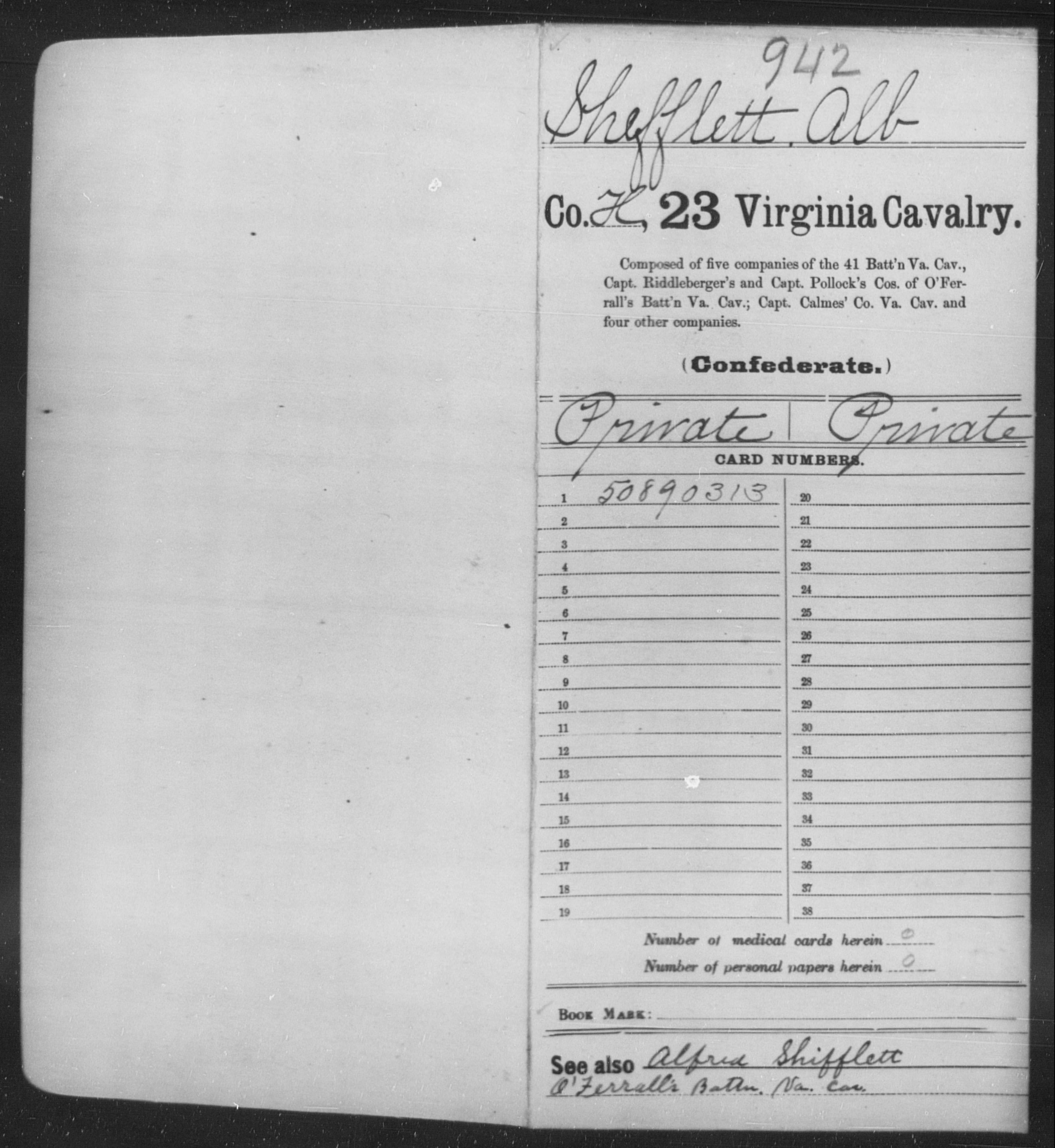 Confederate Soldiers from the State of Virginia - Shefflett, Alb - Twenty-third Cavalry