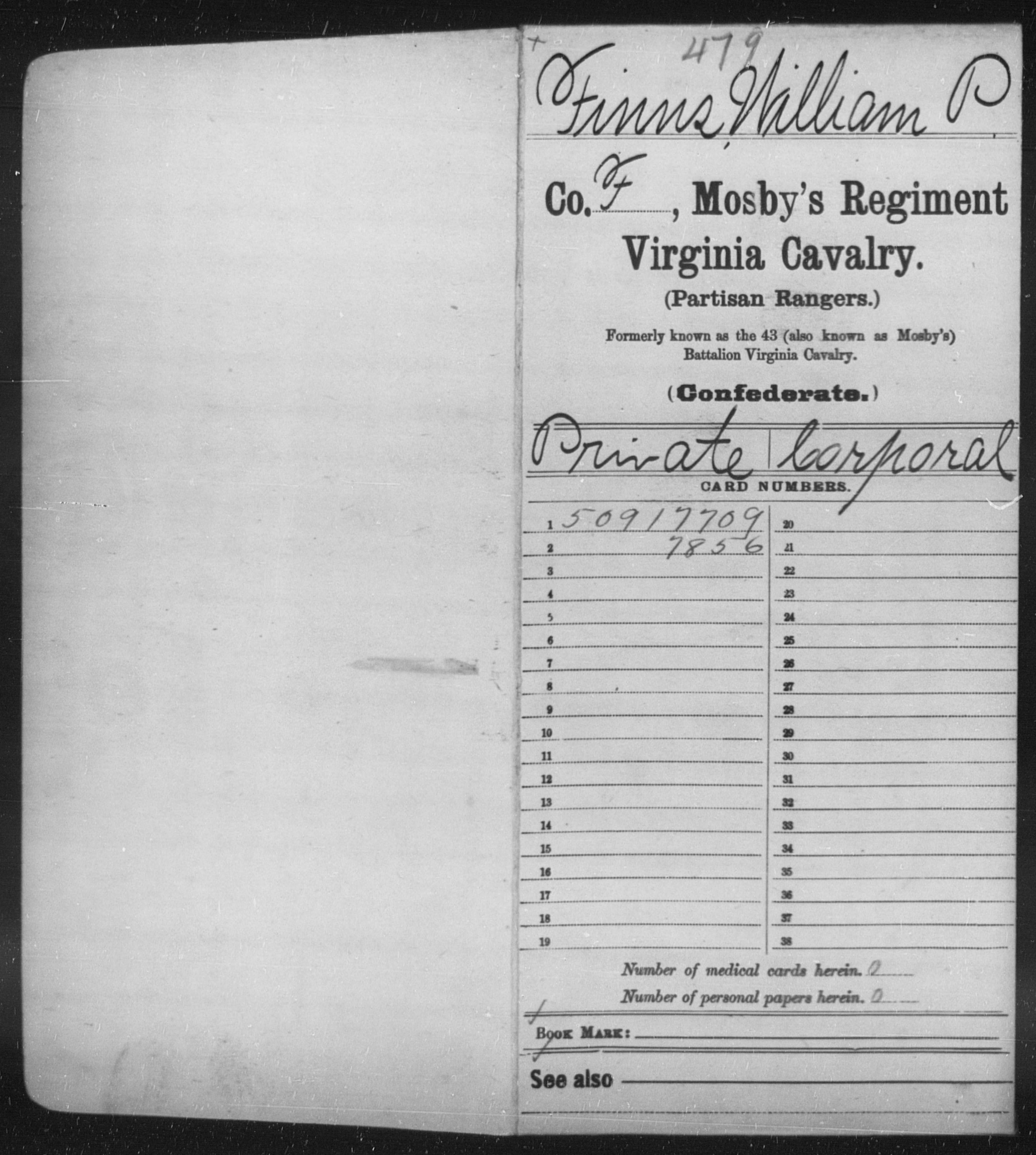 Confederate Soldiers from the State of Virginia - Finns, William P - Mosby's Regiment, Cavalry (Partisan Rangers)