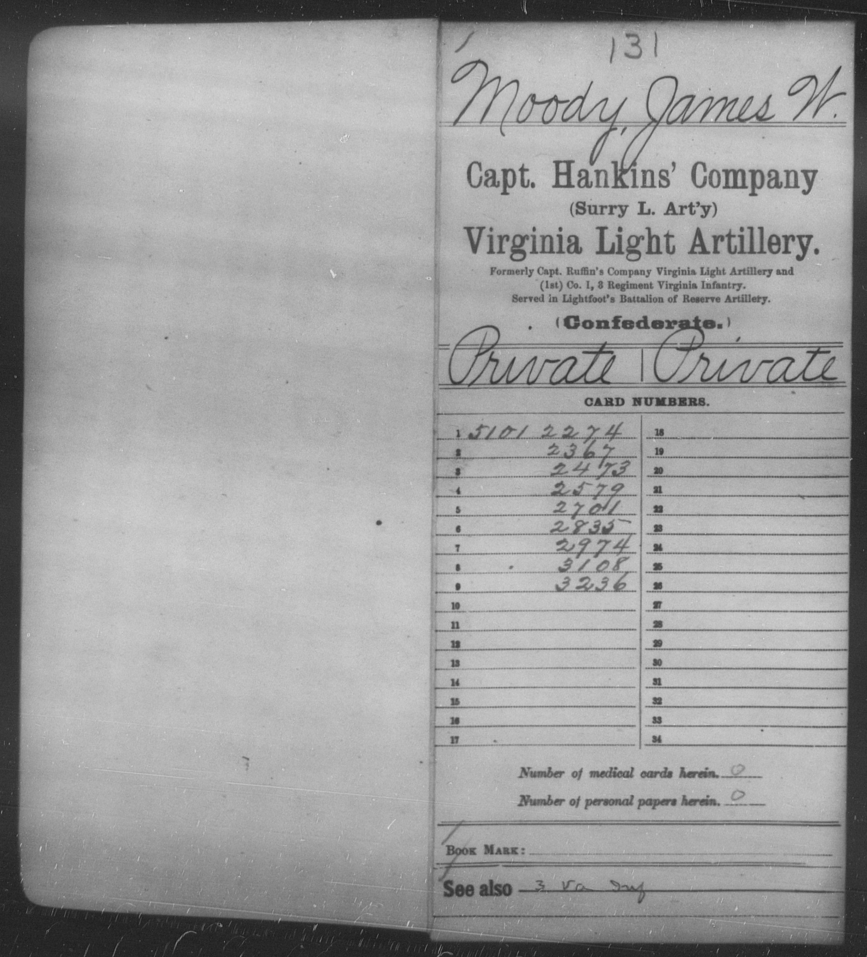 Confederate Soldiers from the State of Virginia - Moody, James W - Capt. Hankin's Co., Light Artillery (Surry Light Artillery)