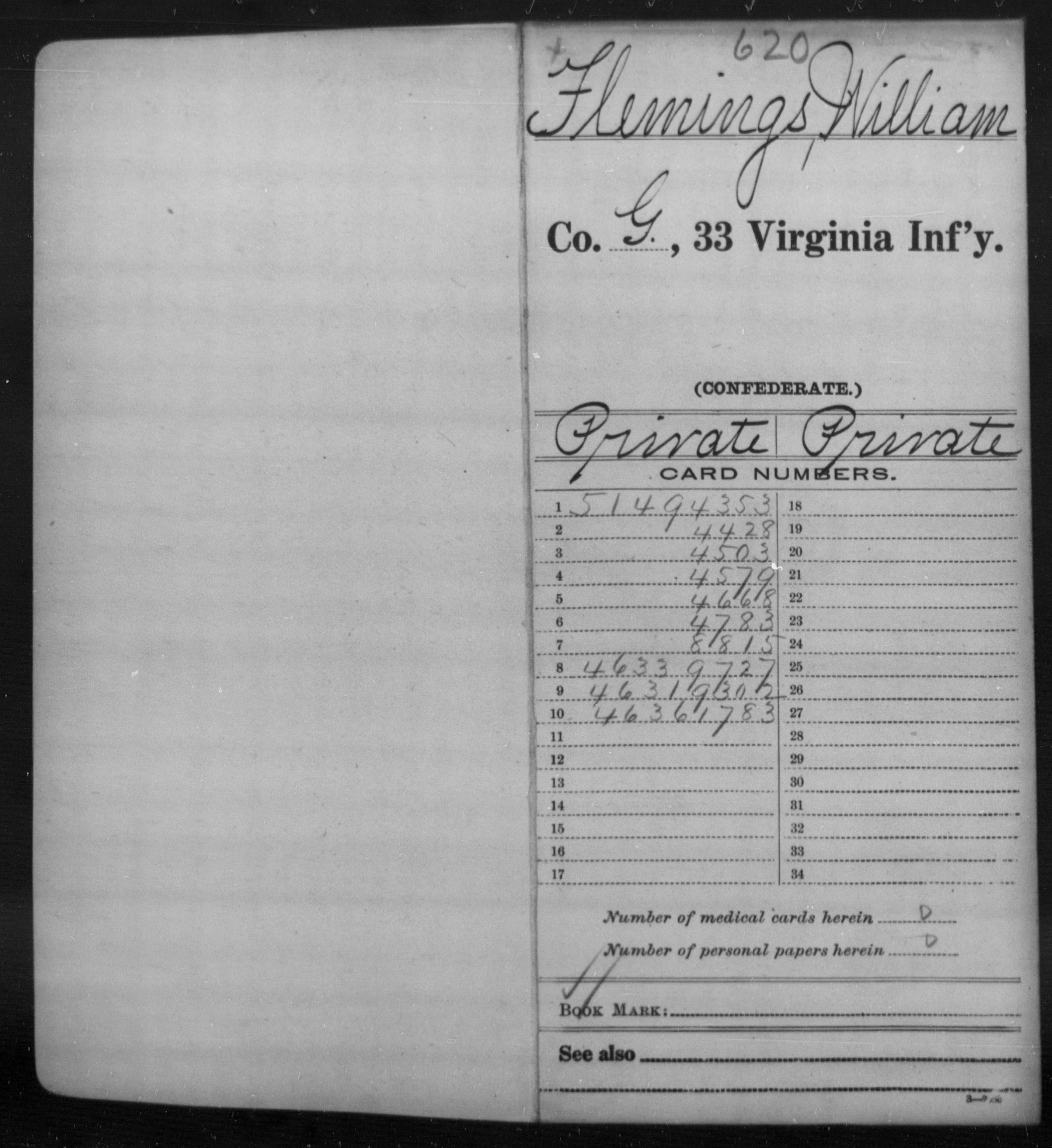 Confederate Soldiers from the State of Virginia - Flemings, William - Thirty-third Infantry