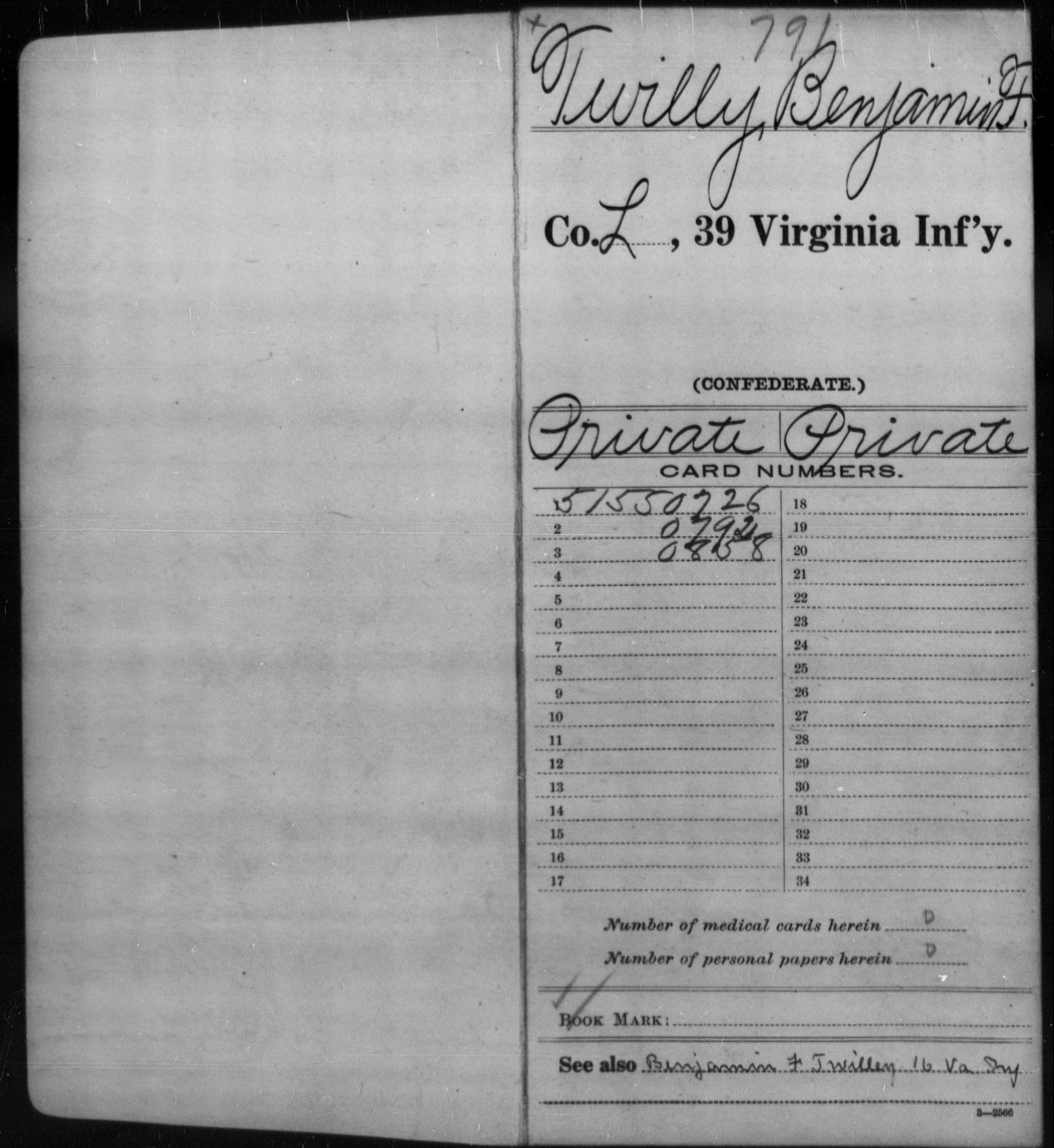 Confederate Soldiers from the State of Virginia - Twilly, Benjamin F - Thirty-ninth Infantry; Thirty-ninth Militia
