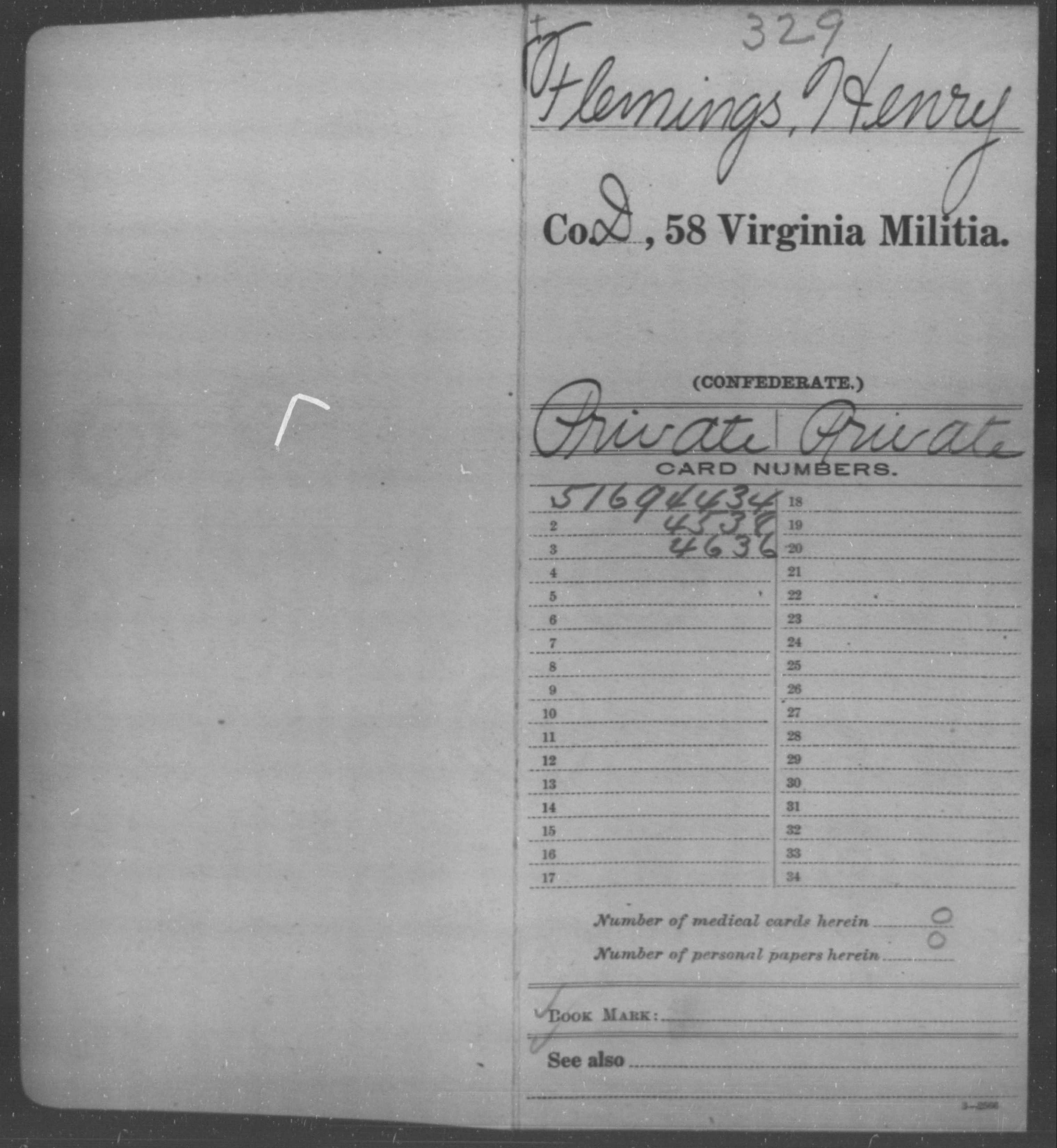 Confederate Soldiers from the State of Virginia - Flemings, Henry - Fifty-eighth Militia