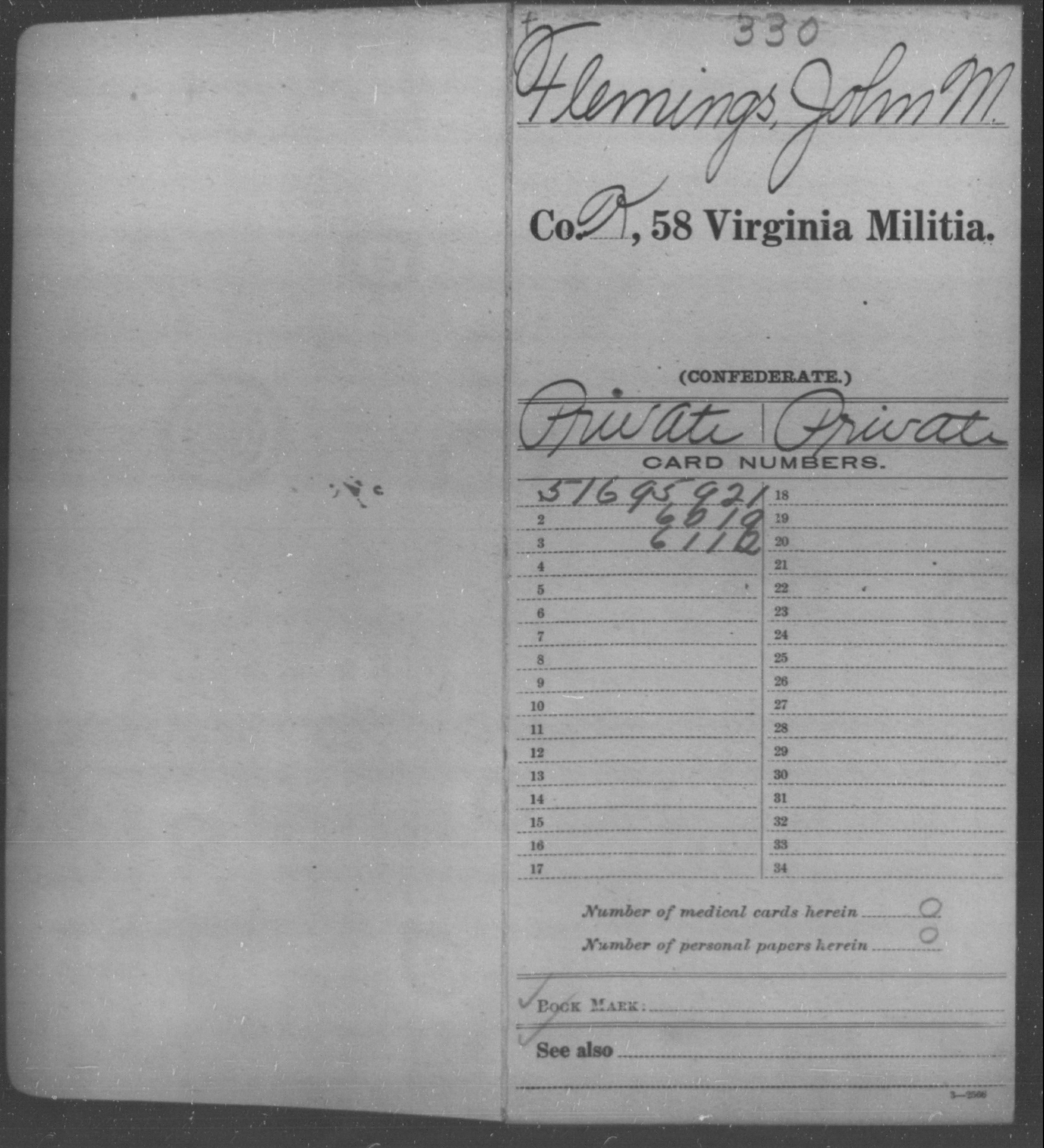 Confederate Soldiers from the State of Virginia - Flemings, John M - Fifty-eighth Militia