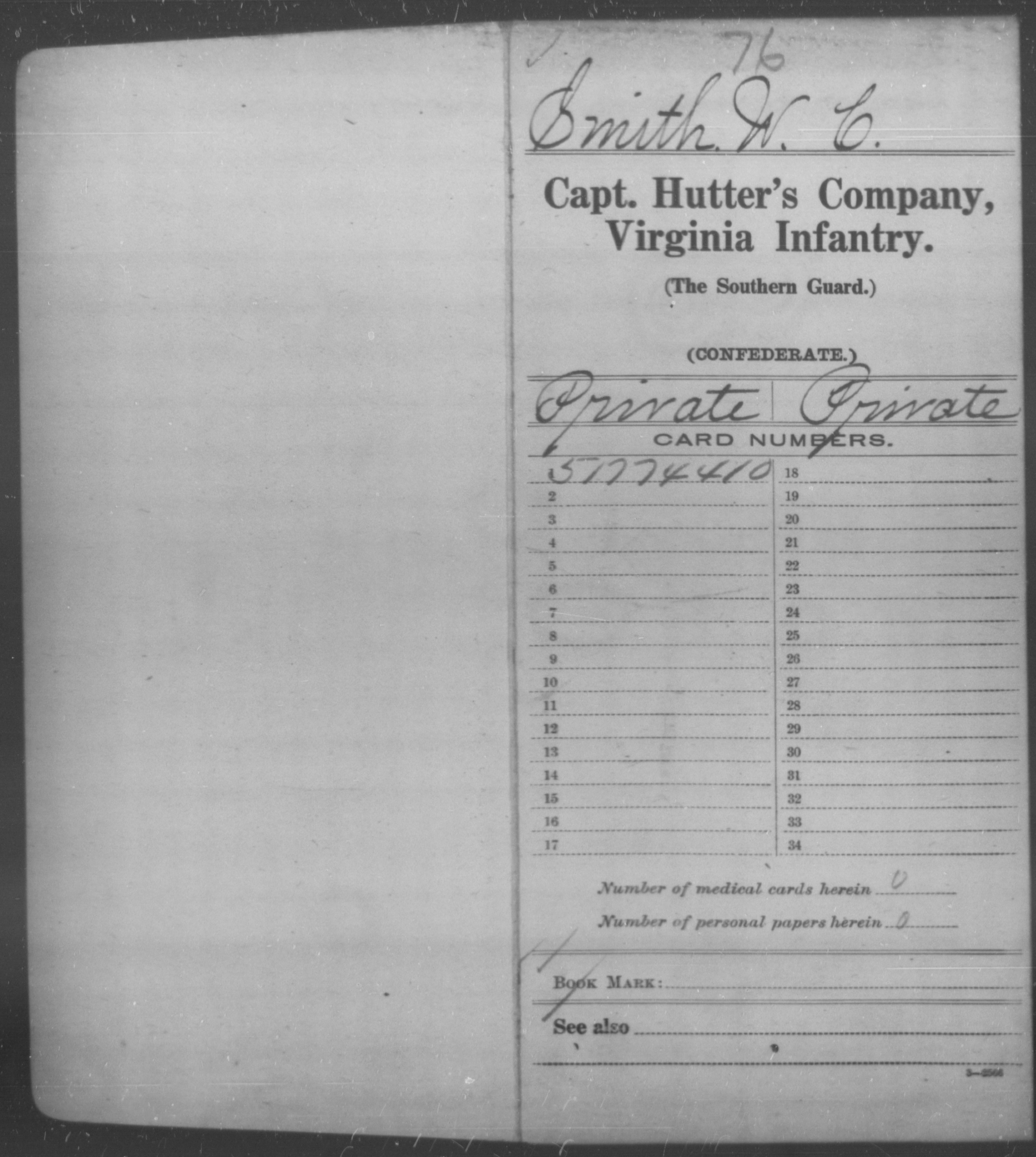 Confederate Soldiers from the State of Virginia - Smith, W C - Hood's Battalion, Reserves; Capt. Hutter's Co., Infantry (The Southern Guard); Capt. Jordan's Co., Local Defense; Capt. Keyser's Co., Reserves; Capt. Lyneman's Co., Infantry