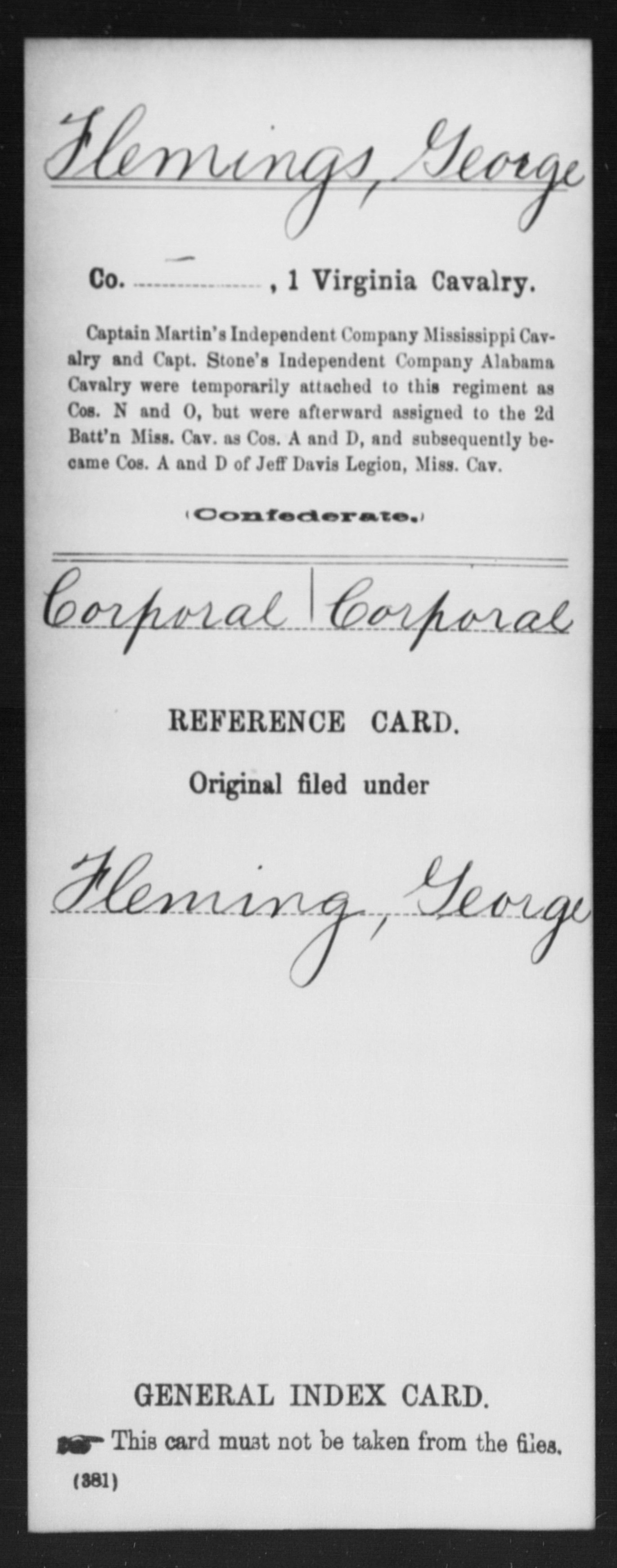Flemings, George - 1st Cavalry, Company [Blank] - Enlistment Rank: Corporal - Discharge Rank: Corporal