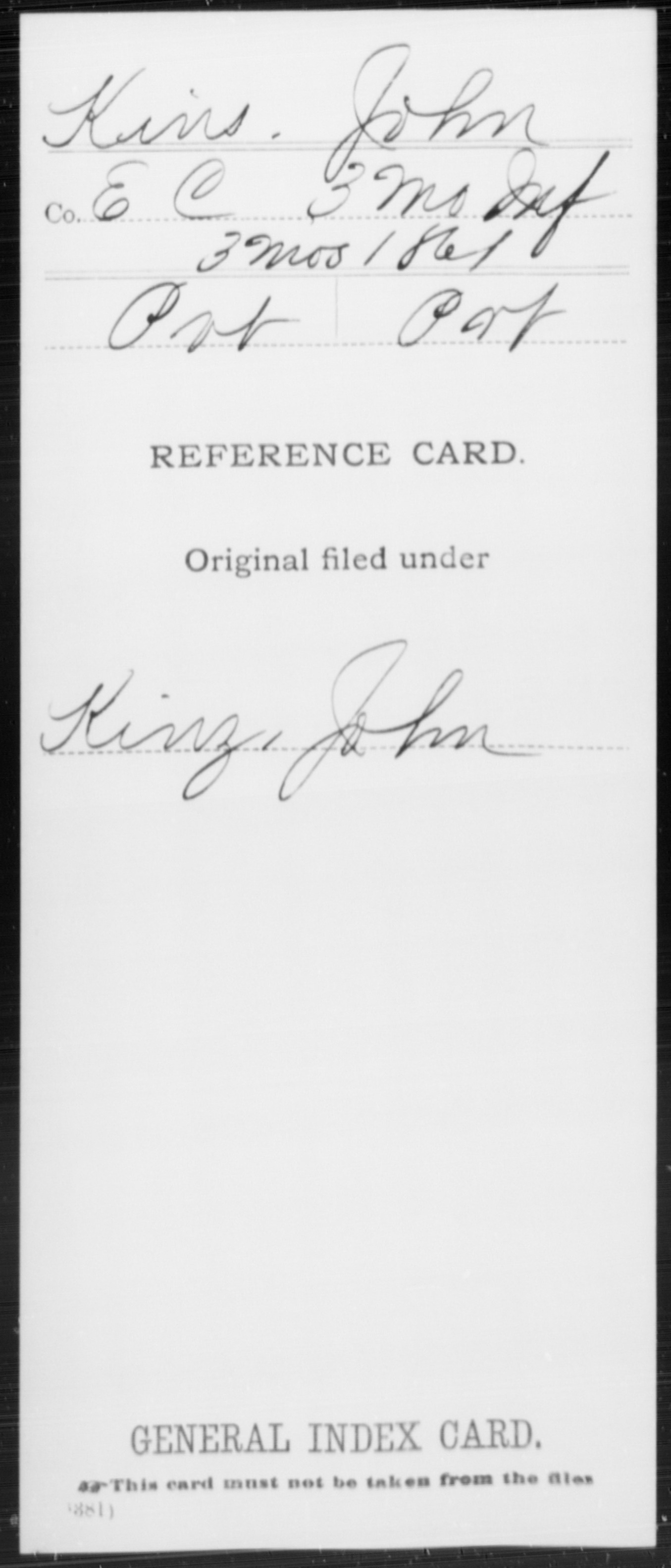 [Missouri] Kins, John - 3rd Infantry (3 Months, 1861), Company E,C