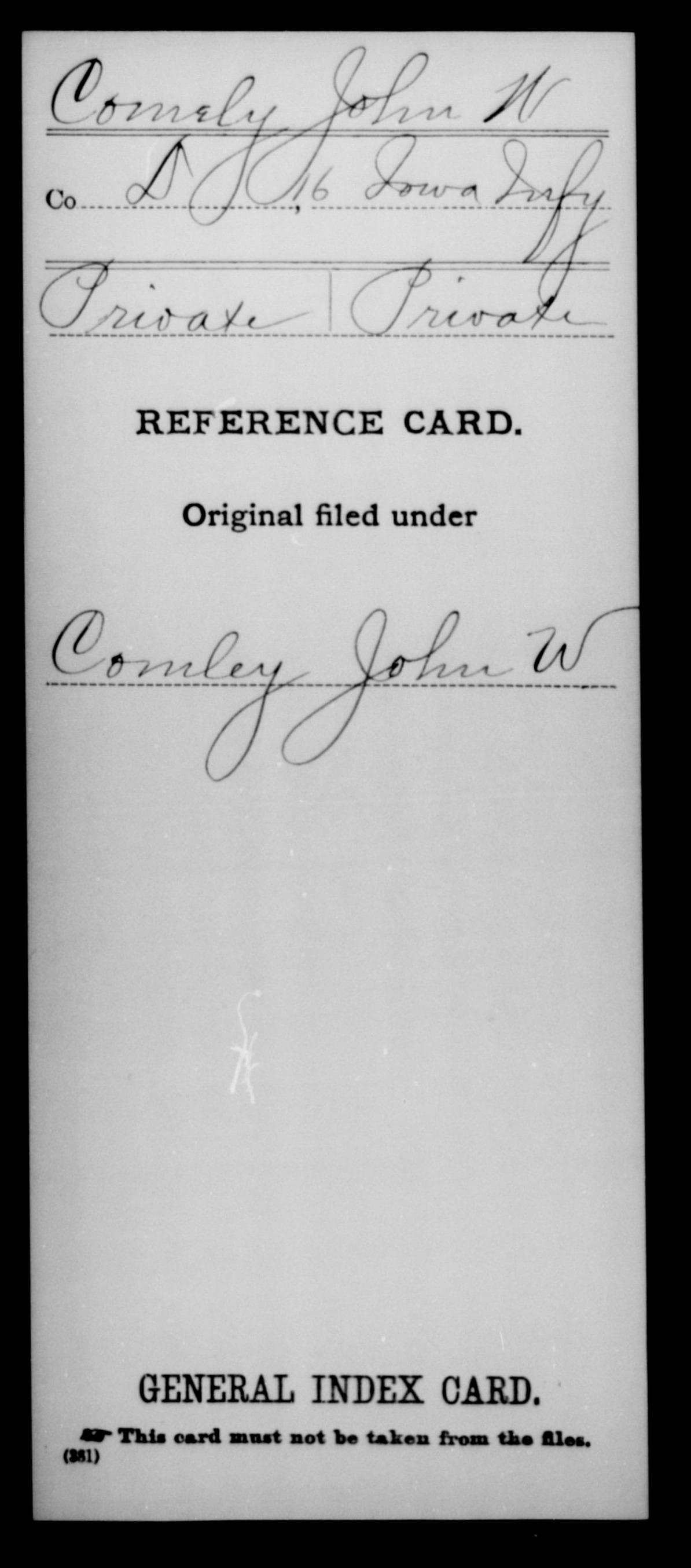 [Iowa] Comely, John W - 16th Infantry, Company D